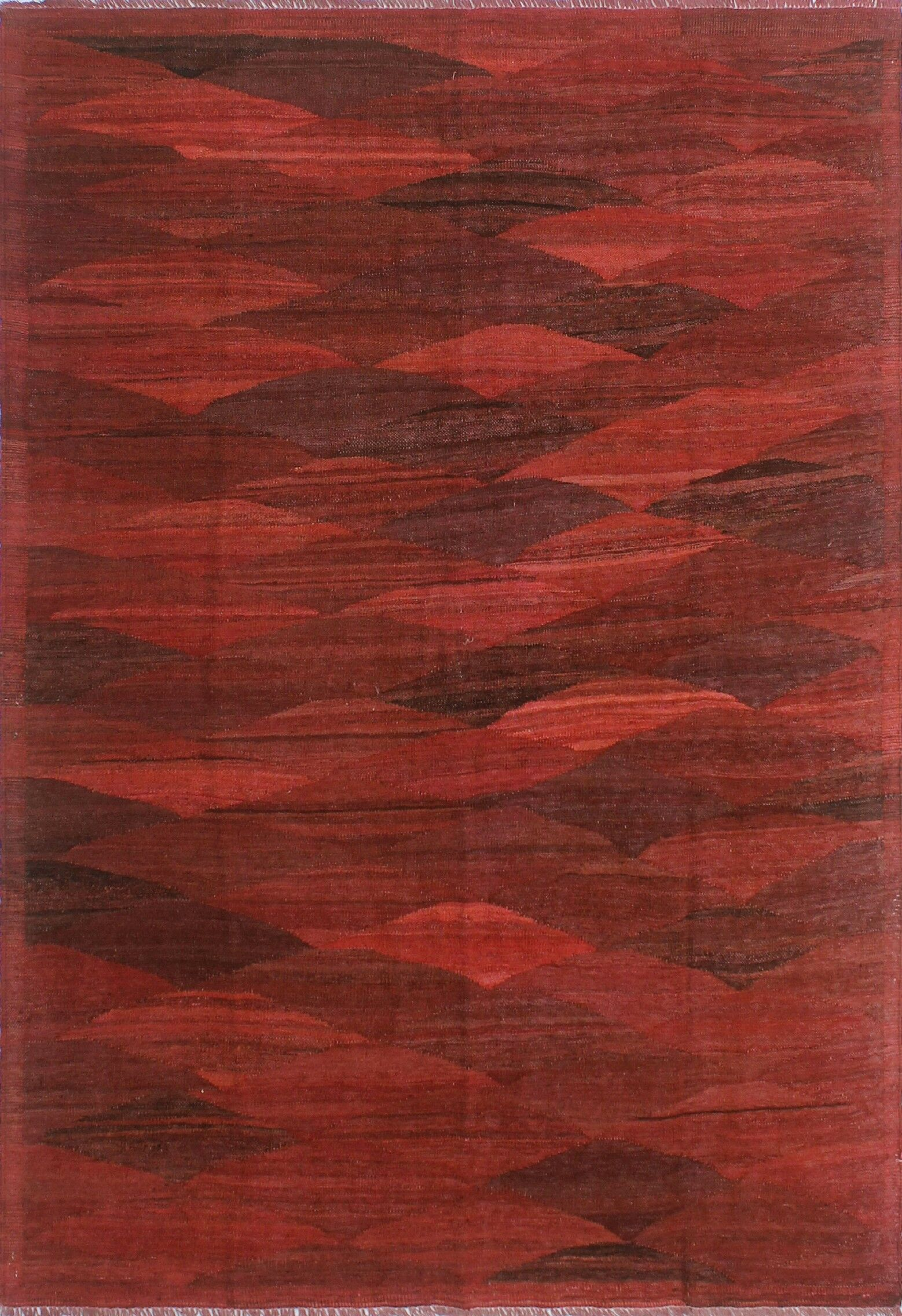 Alaina Hand-Knotted Wool Red Area Rug