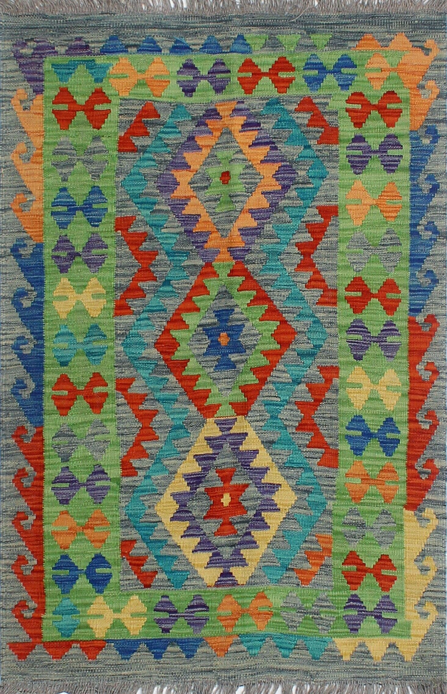 Corda Hand-Knotted Wool Blue/Green Area Rug