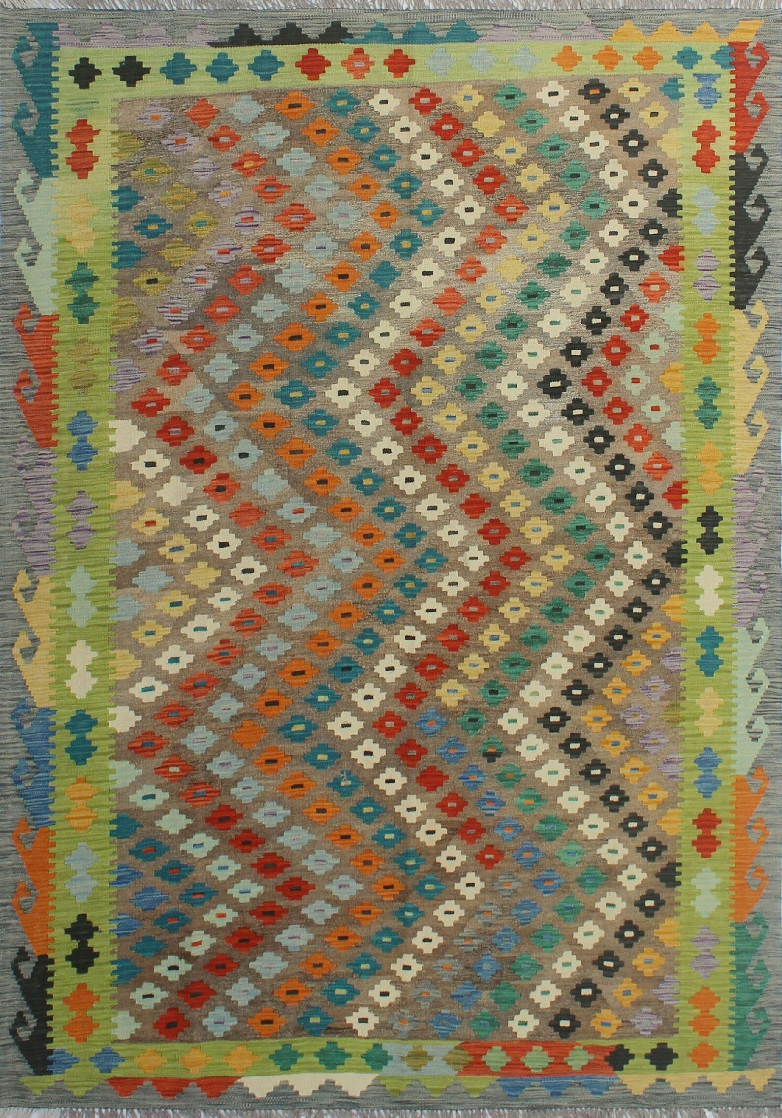 Corda Hand-Knotted Wool Gray/Red Area Rug
