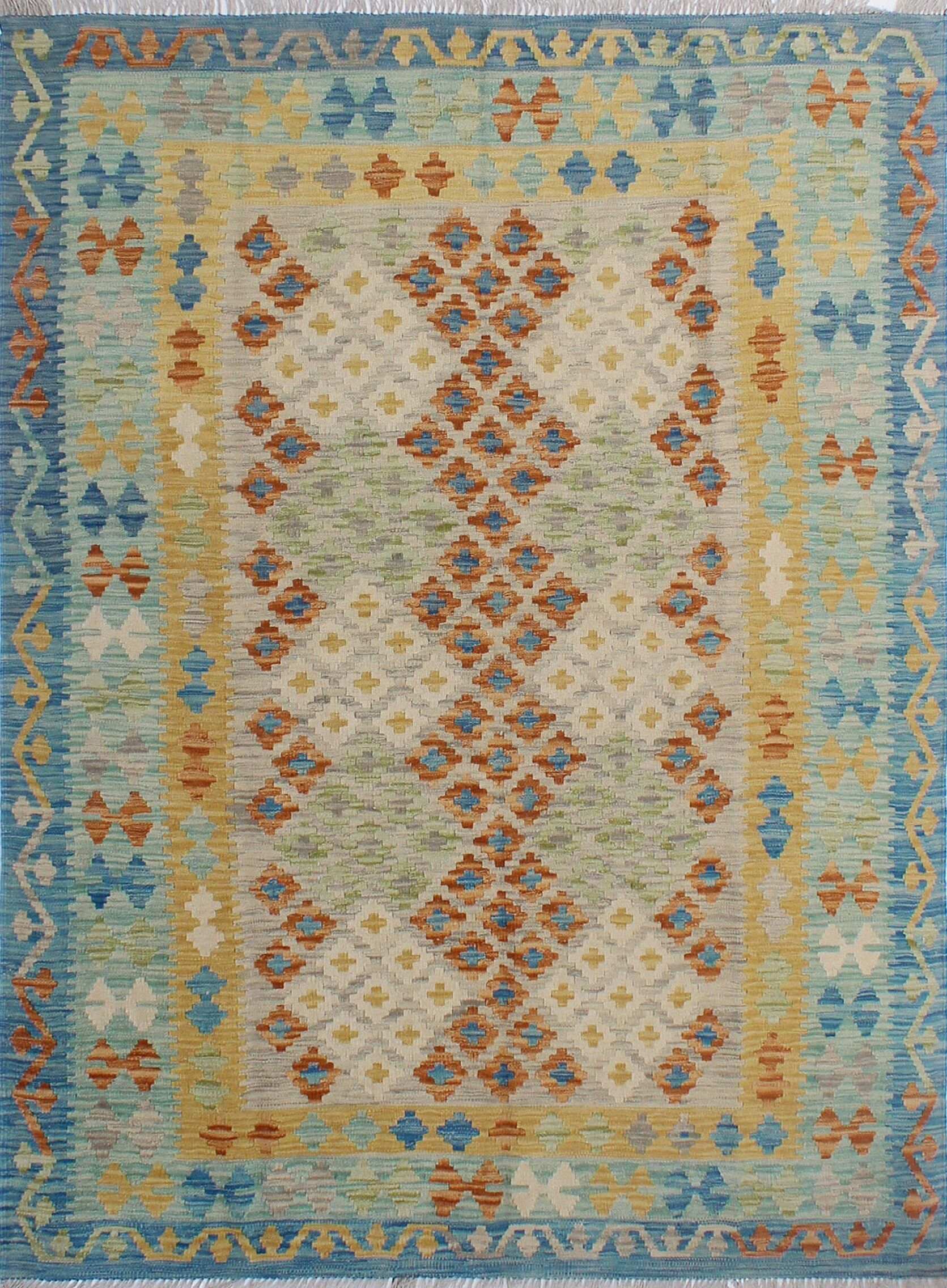Corda Hand-Knotted Wool Beach/Blue Area Rug
