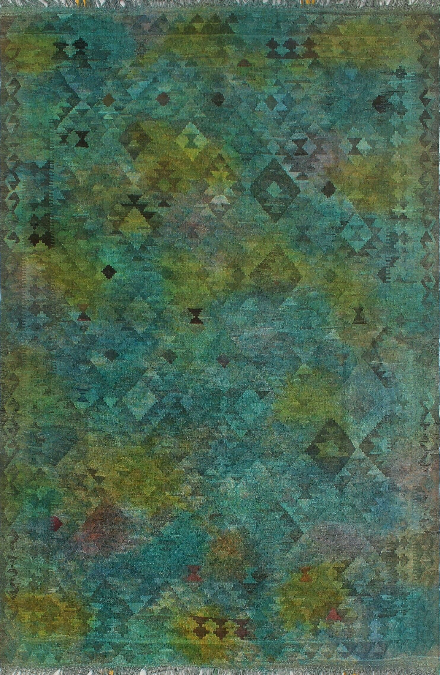 Earle Hand-Knotted Wool Green/Blue Area Rug