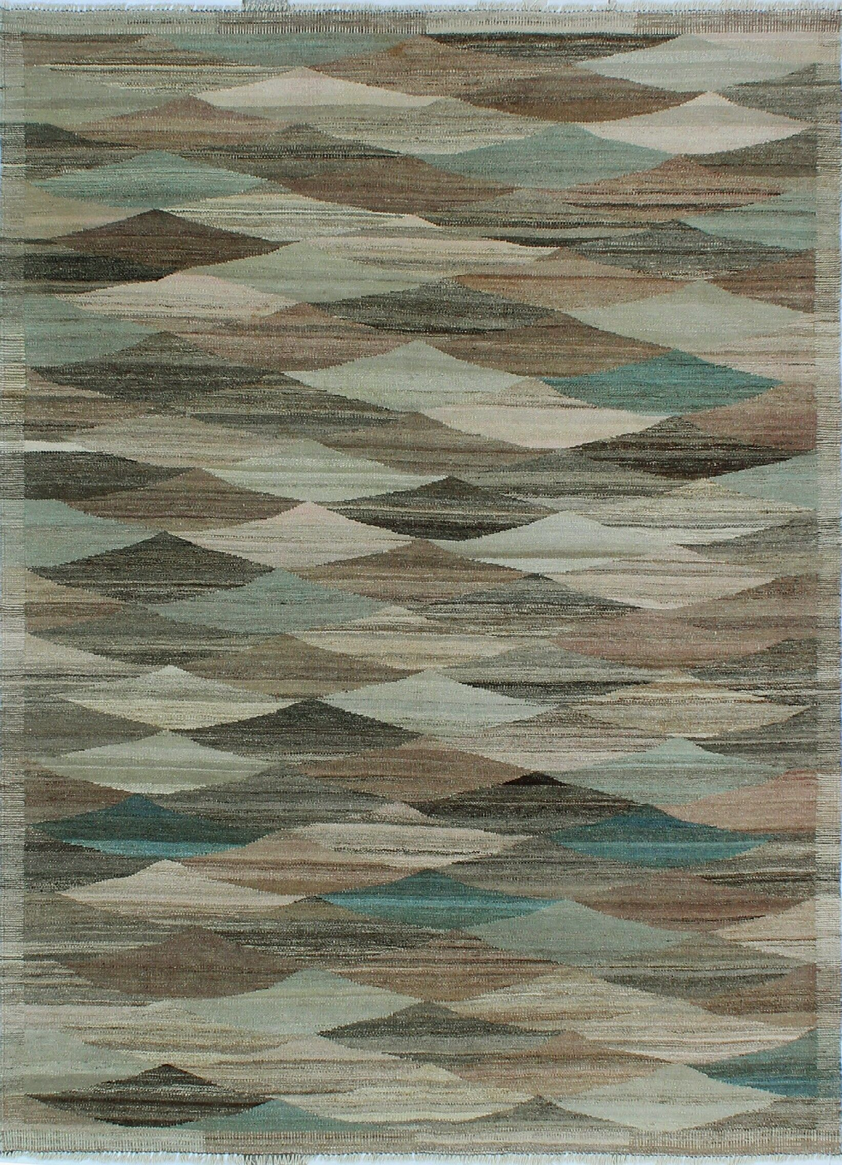Howerton Hand-Knotted Wool Azure/Blue Area Rug