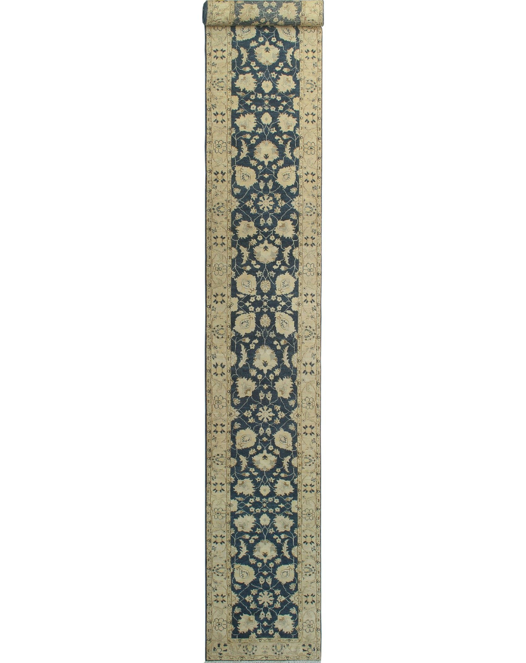 Peachey Hand-Knotted Wool Beige/Blue Area Rug