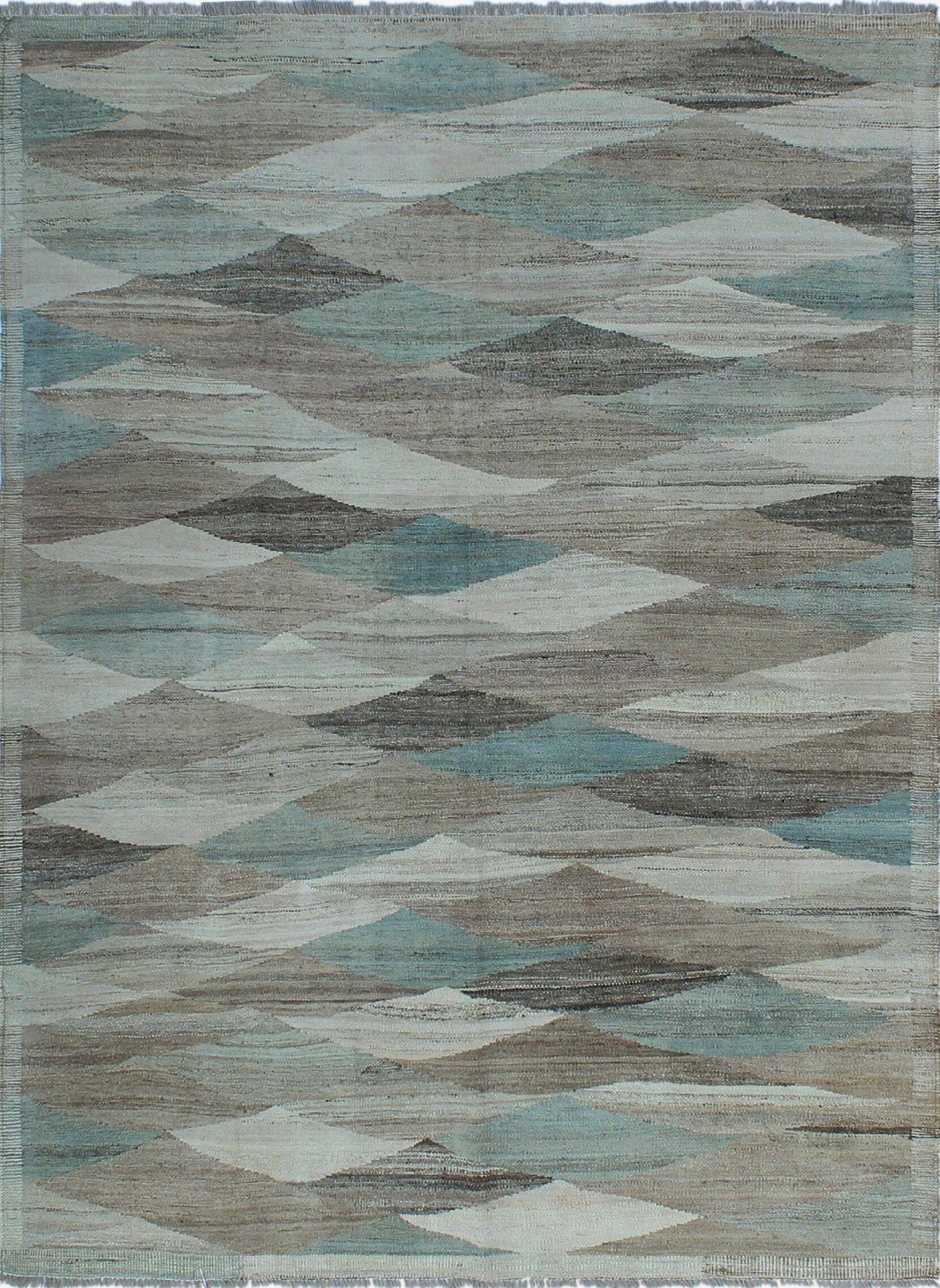 Howerton Hand-Knotted Wool Orange/Blue Area Rug