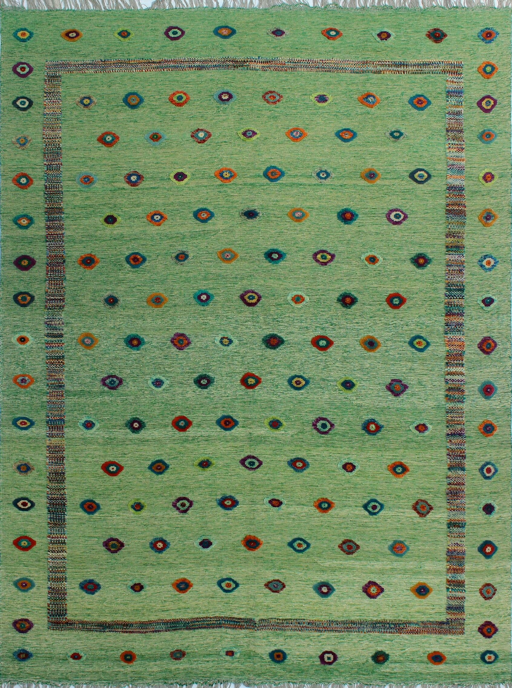Creola Hand-Knotted Wool Green Area Rug