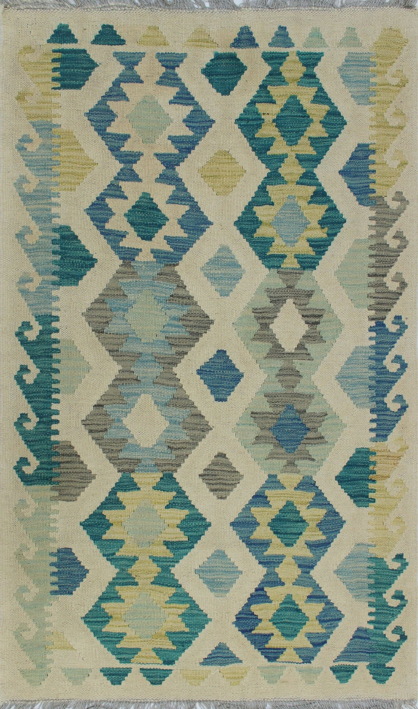 Corda Hand-Knotted Wool Gray/Blue Area Rug