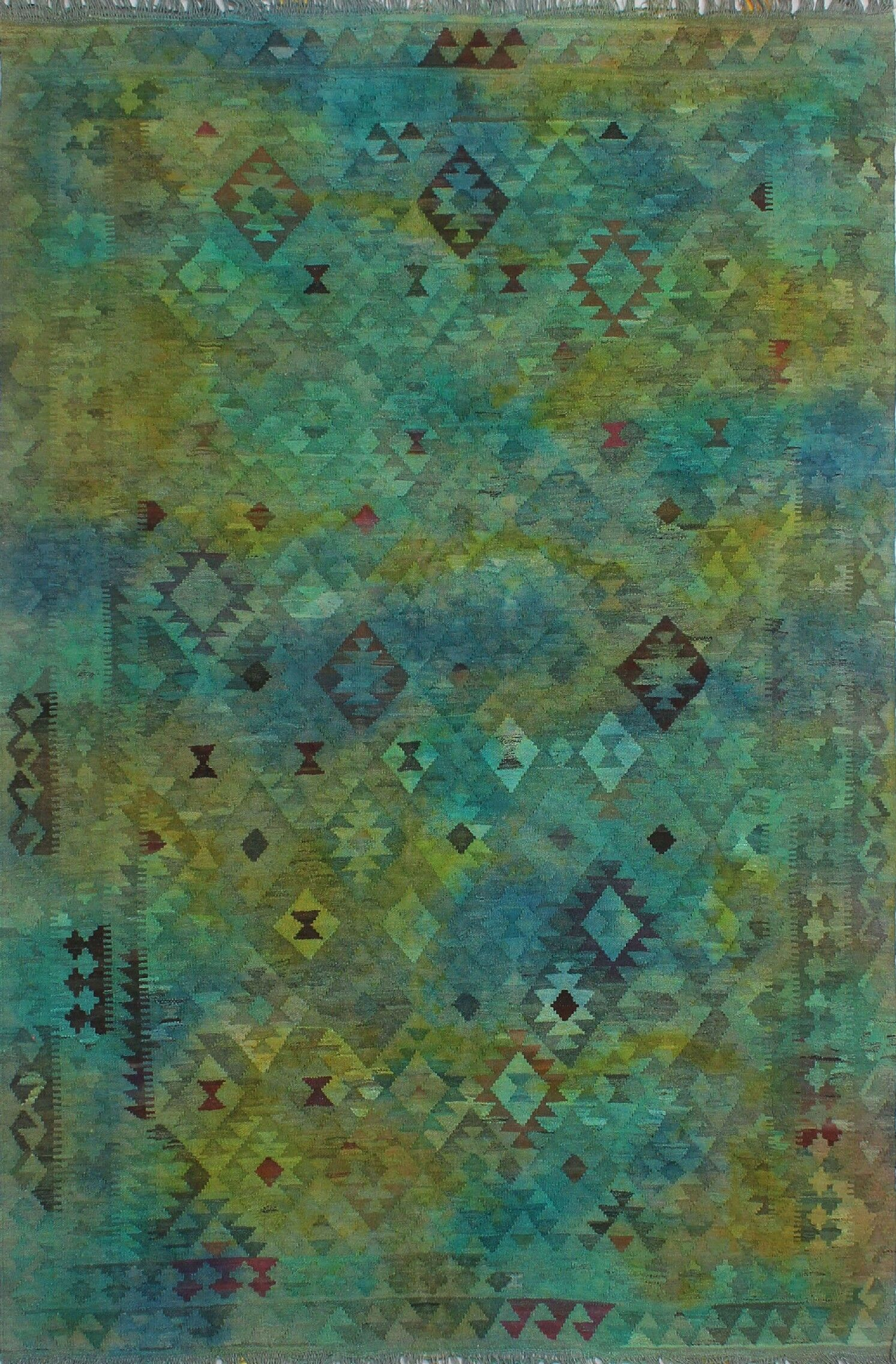 Earle Hand-Knotted Wool Green Area Rug