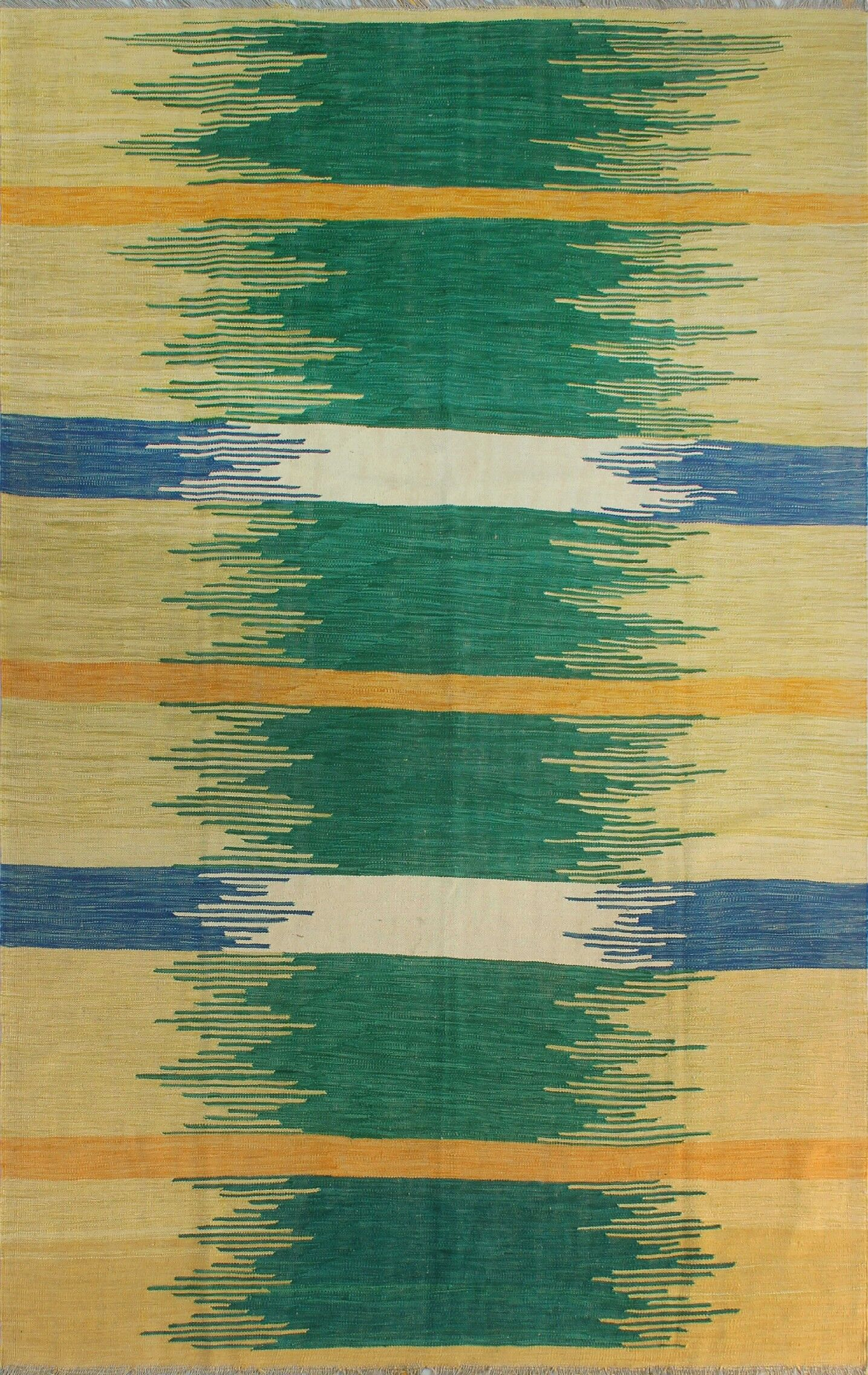 Dickie Hand-Knotted Wool Red/Green Area Rug
