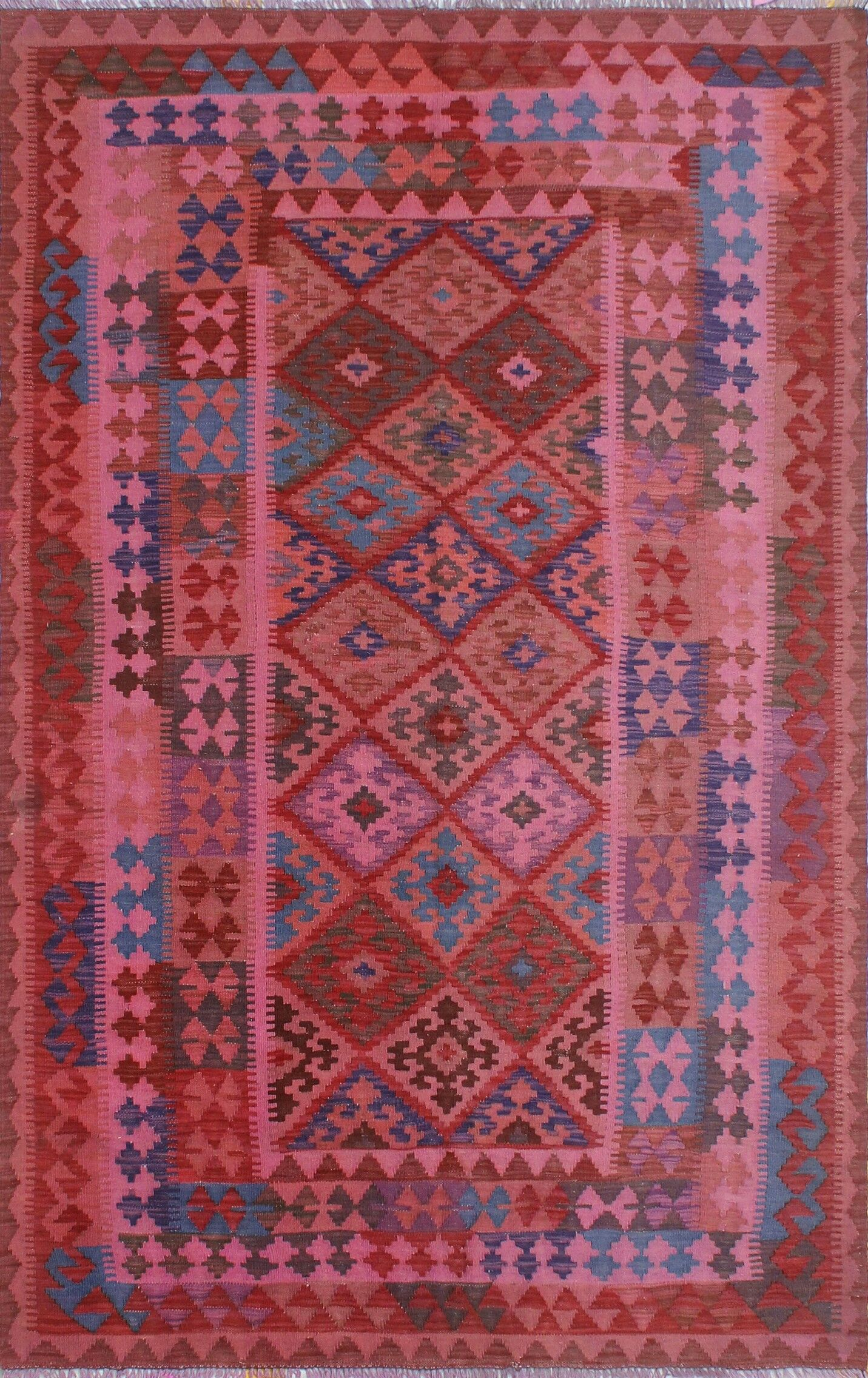 Earle Hand-Knotted Wool Pink/Red Area Rug