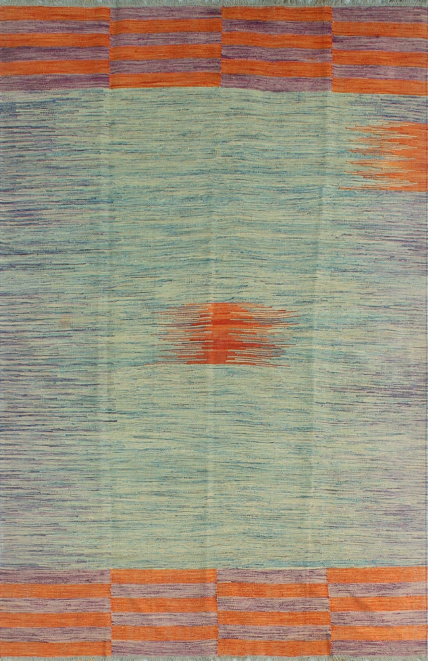 Dickie Wool Cream/Blue Area Rug