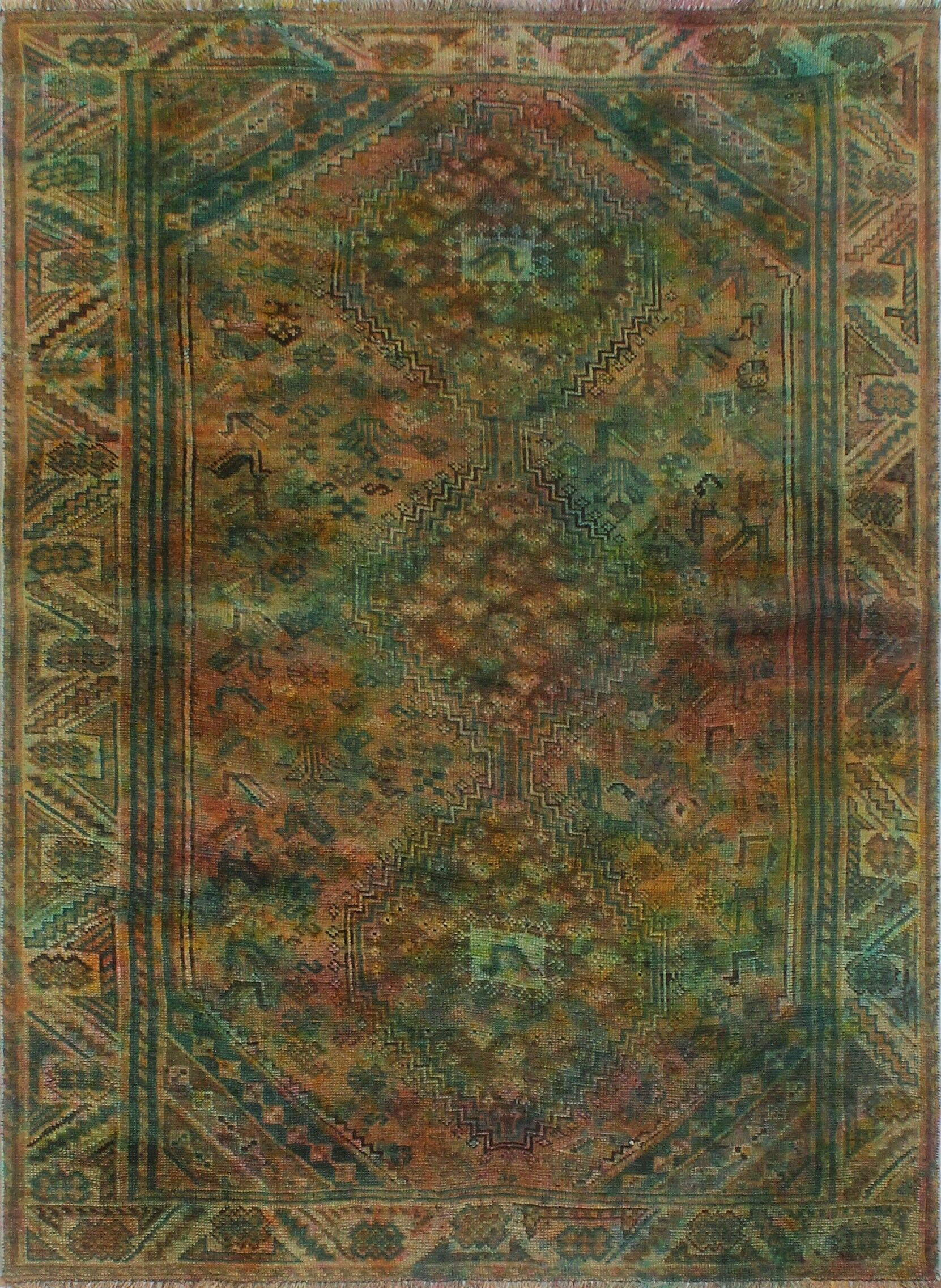 One-Of-A-Kind Velda Hand-Knotted Wool Green/Brown Area Rug