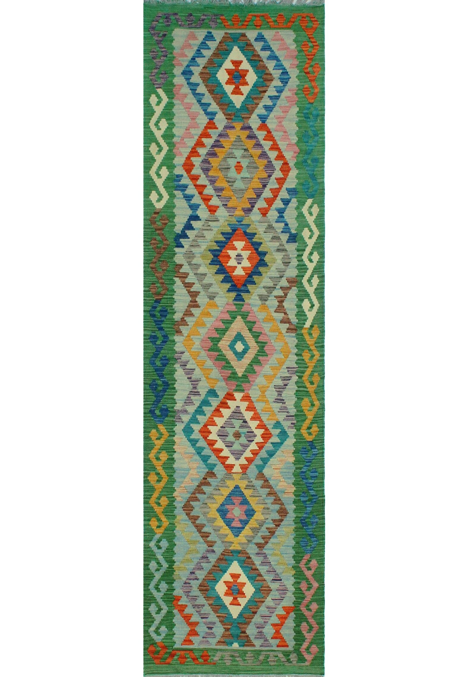 Corda Hand-Knotted Wool Green/Orange Area Rug