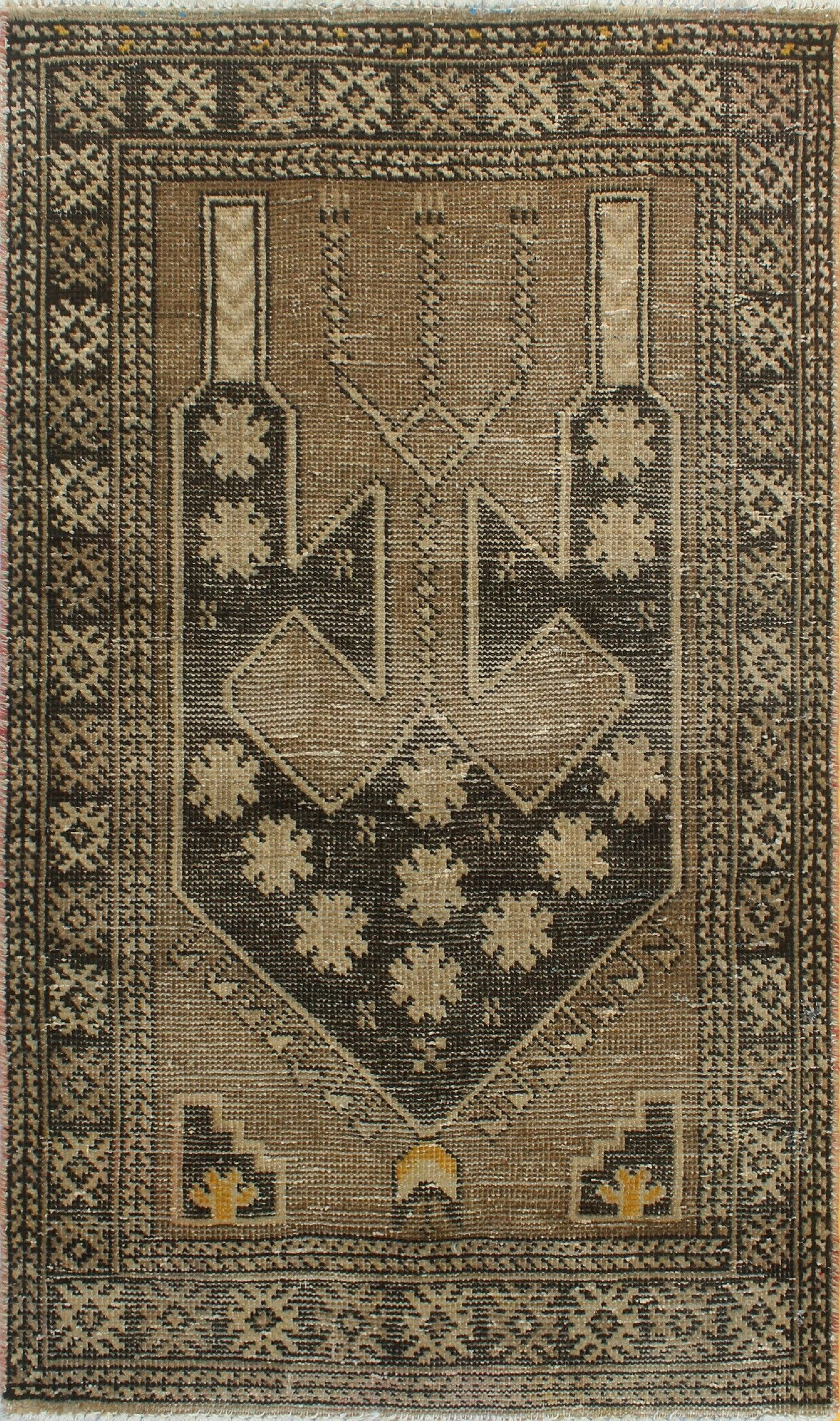 One-Of-A-Kind Brook Hand-Knotted Wool Dark Brown/Cream Area Rug