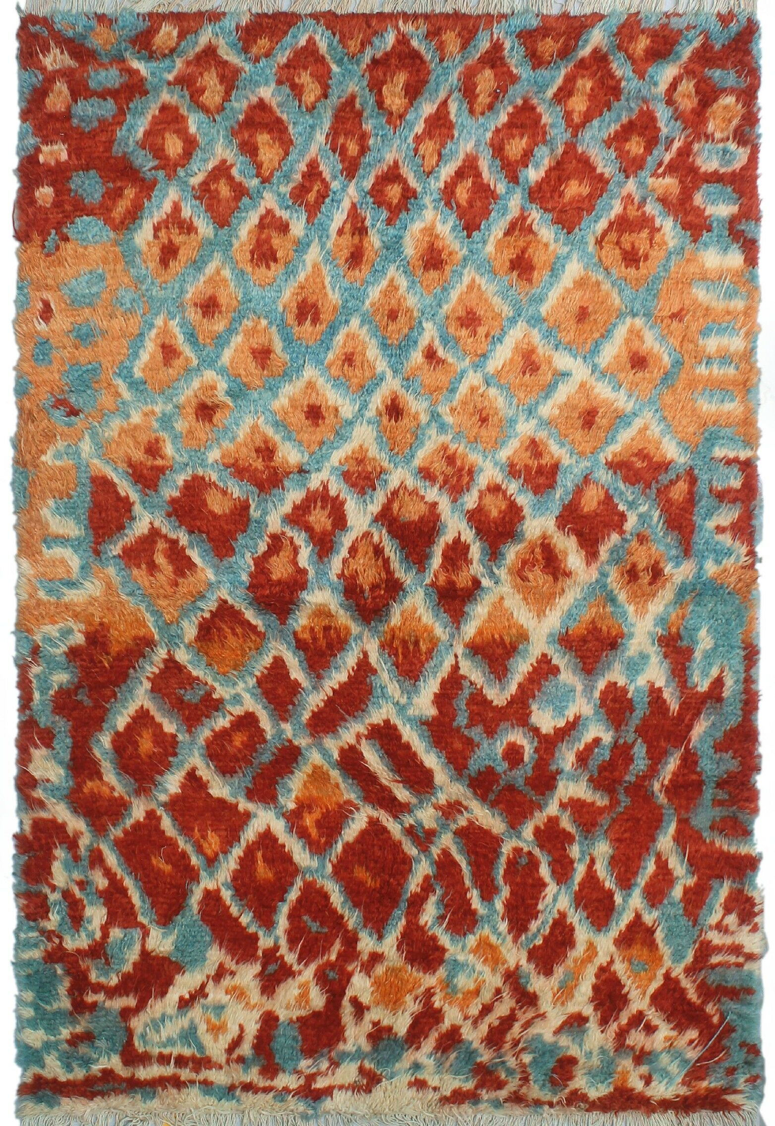 Oneridge Hand-Knotted Wool Red/Blue Area Rug