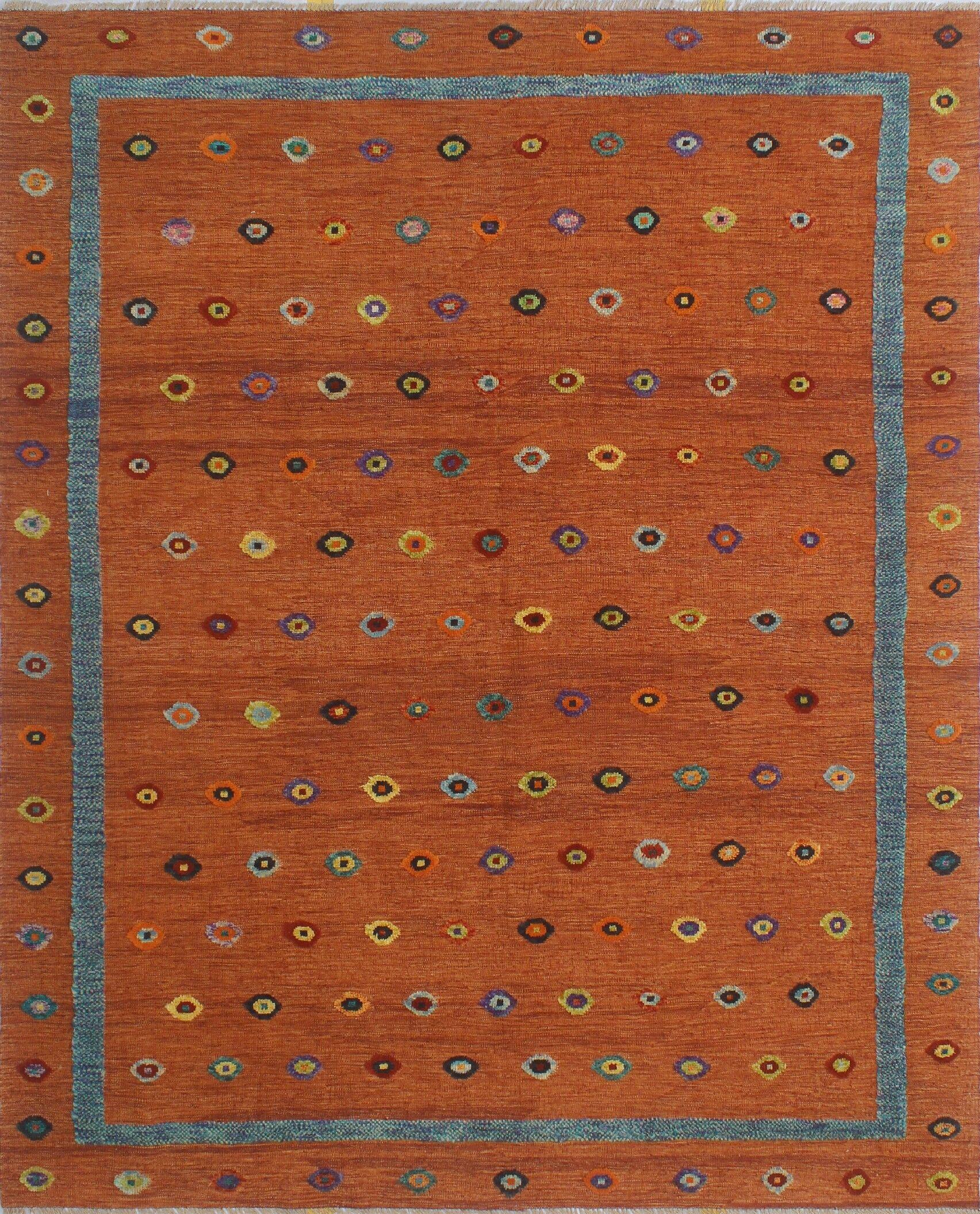 Creola Hand-Knotted Wool Orange Area Rug