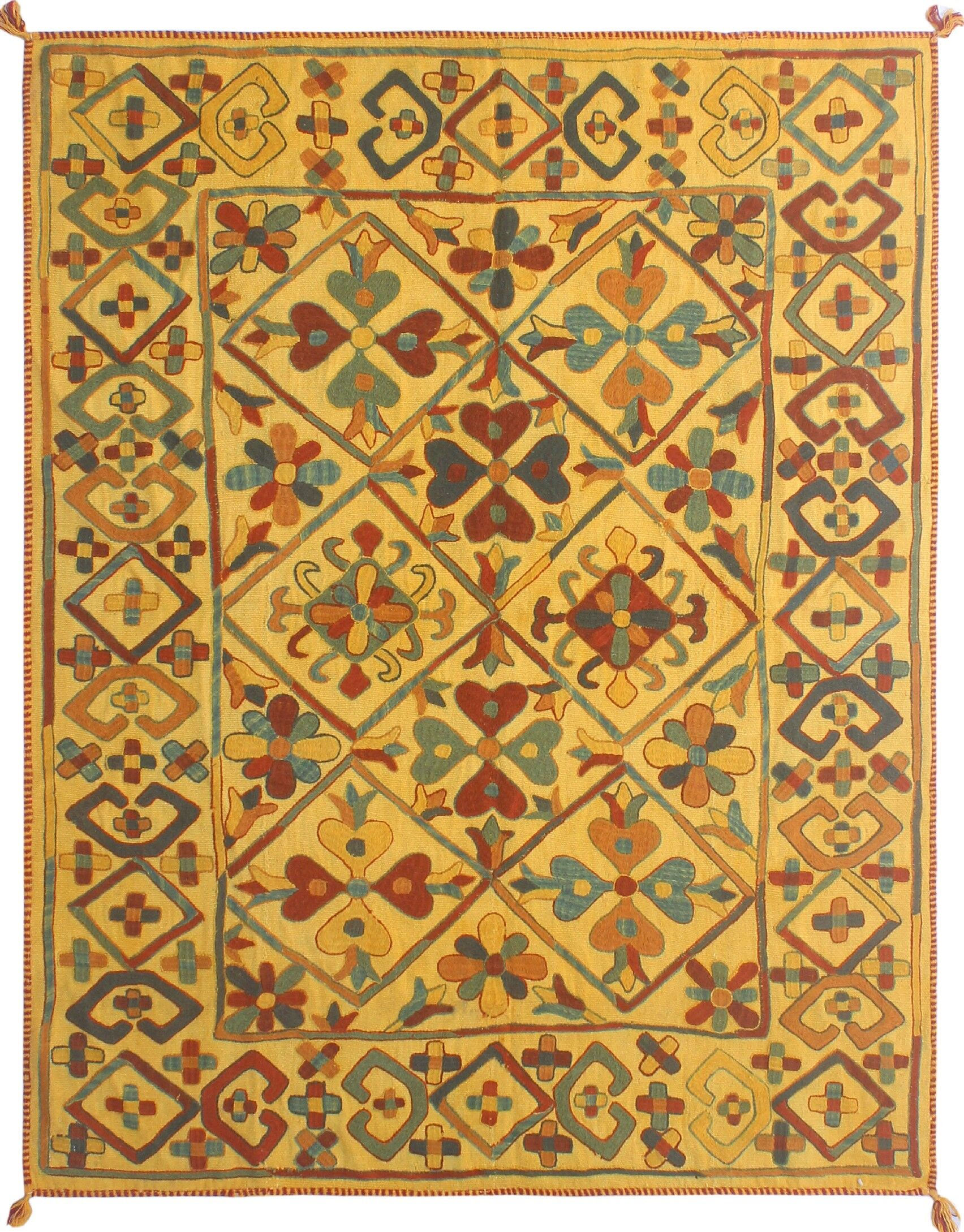 One-Of-A-Kind Treva Hand-Knotted Wool Yellow Area Rug