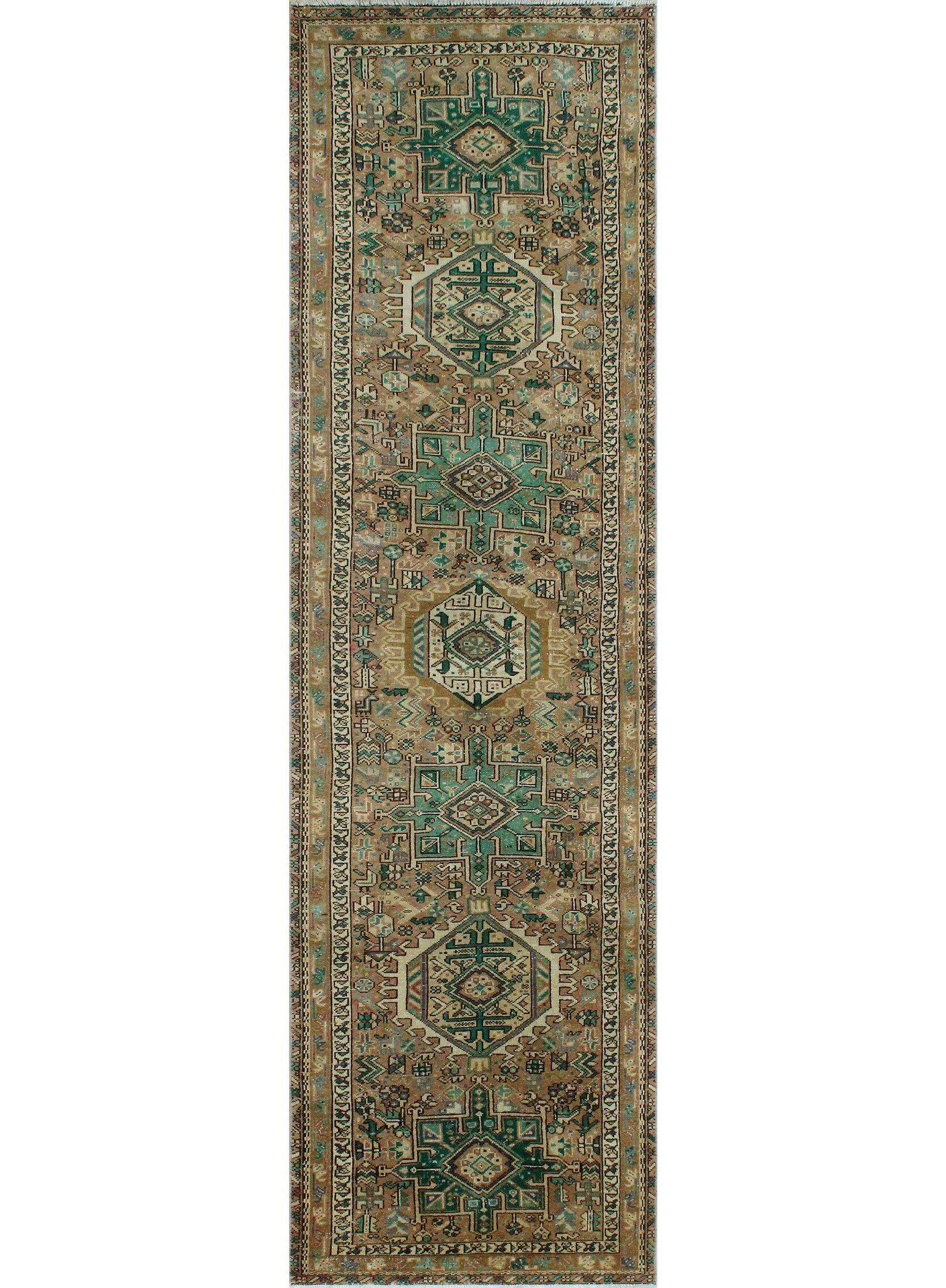 One-Of-A-Kind Mitch Heriz Hand-Knotted Wool Green Area Rug