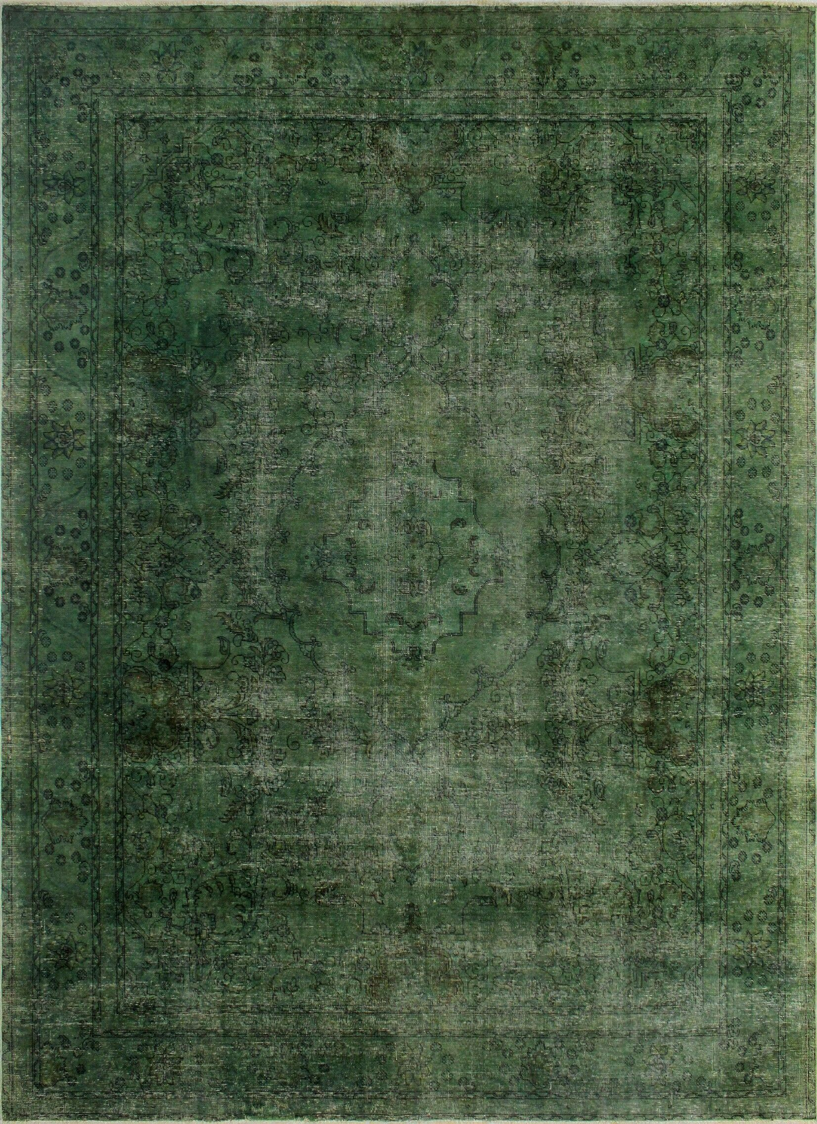 One-Of-A-Kind Treva Hand-Knotted Wool Green Area Rug