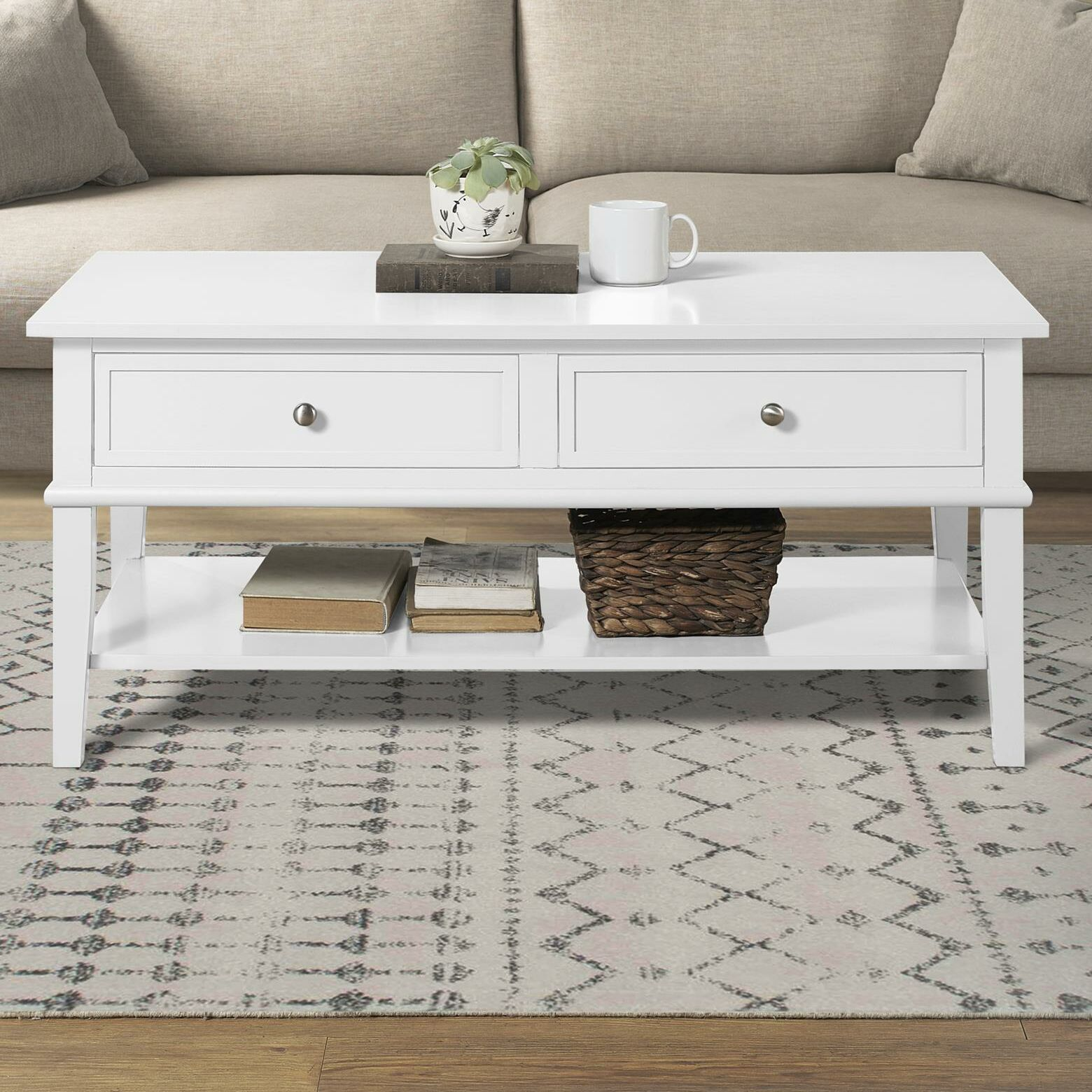 Dmitry Coffee Table with Storage Color: White