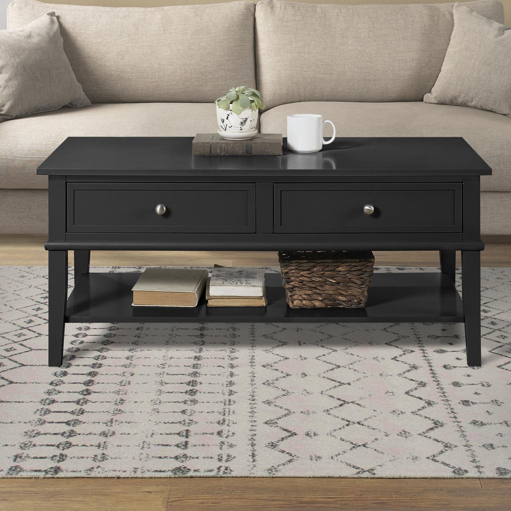 Dmitry Coffee Table with Storage Color: Black