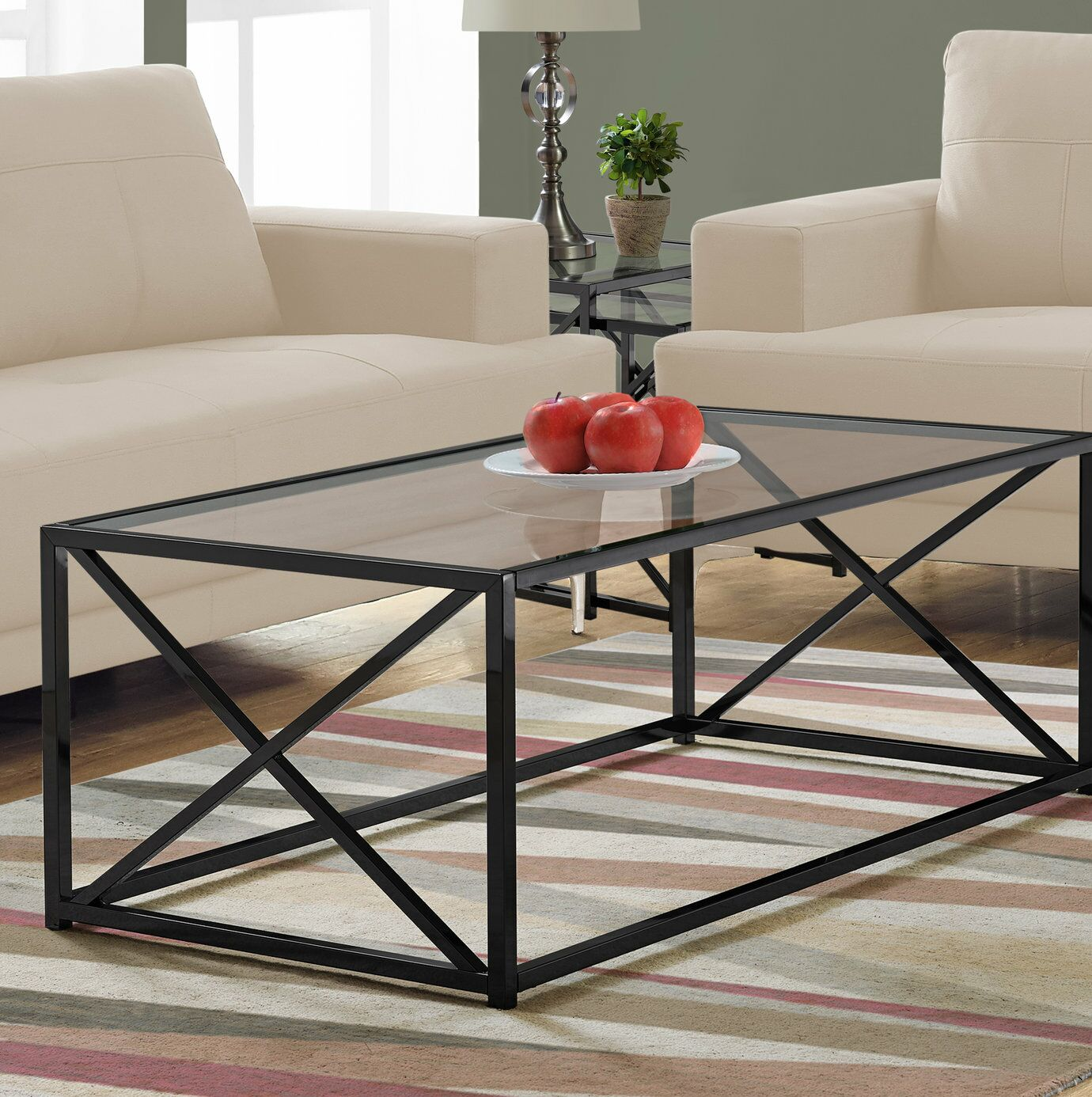 Geise Tempered Glass Coffee Table Table Base Color: Black