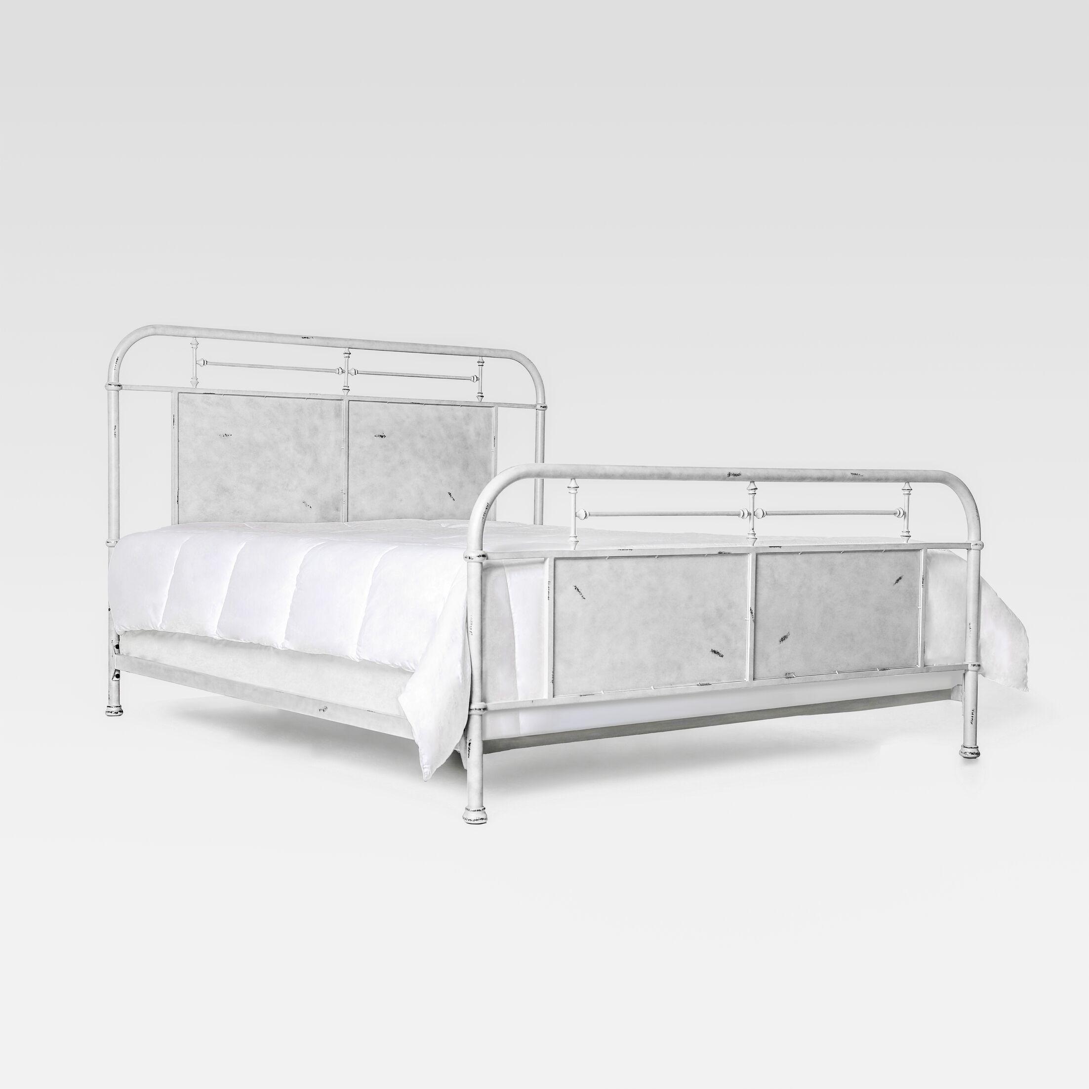 Jacinta Metal Panel Bed Size: King, Color: Distressed White