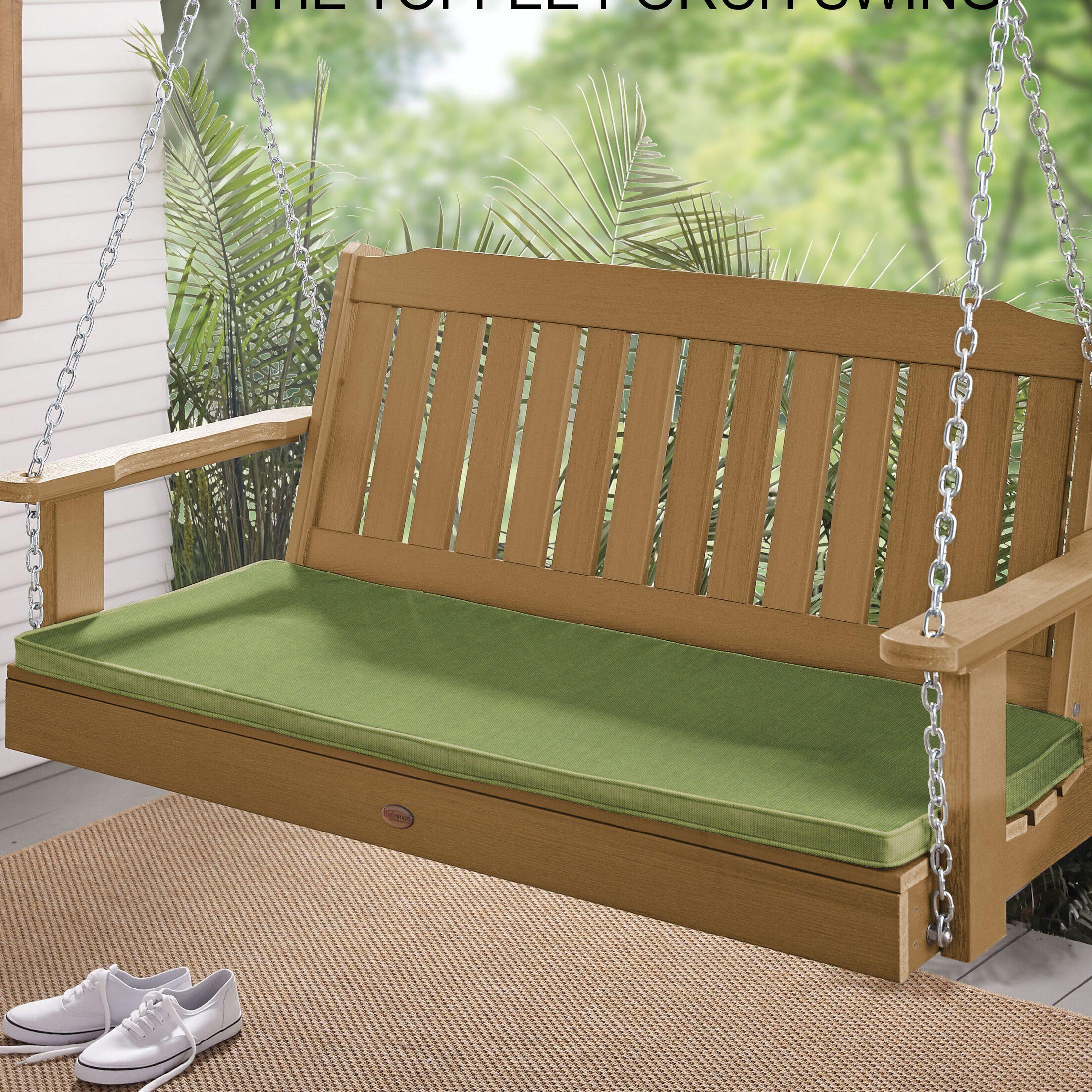 Indoor/Outdoor Sunbrella Bench Cushion Fabric: Spectrum Cilantro, Size: 1