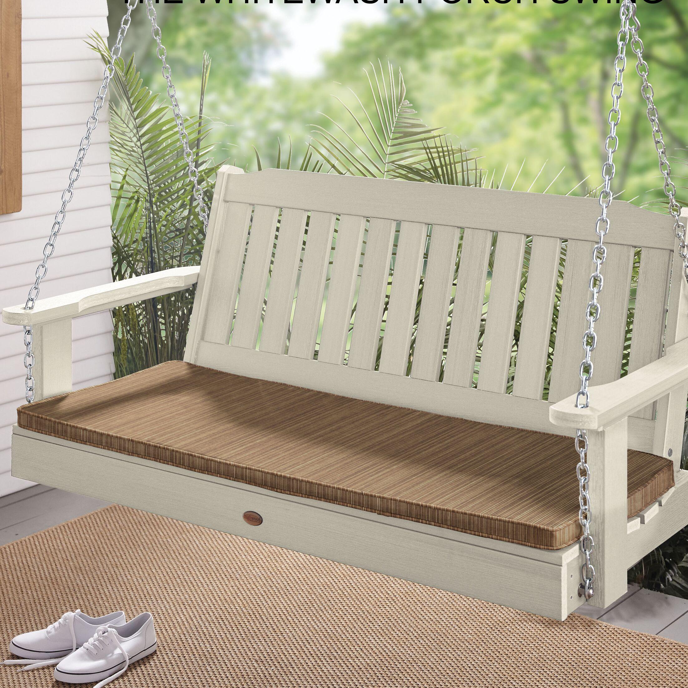 Indoor/Outdoor Sunbrella Bench Cushion Fabric: Dupione Walnut, Size: 1