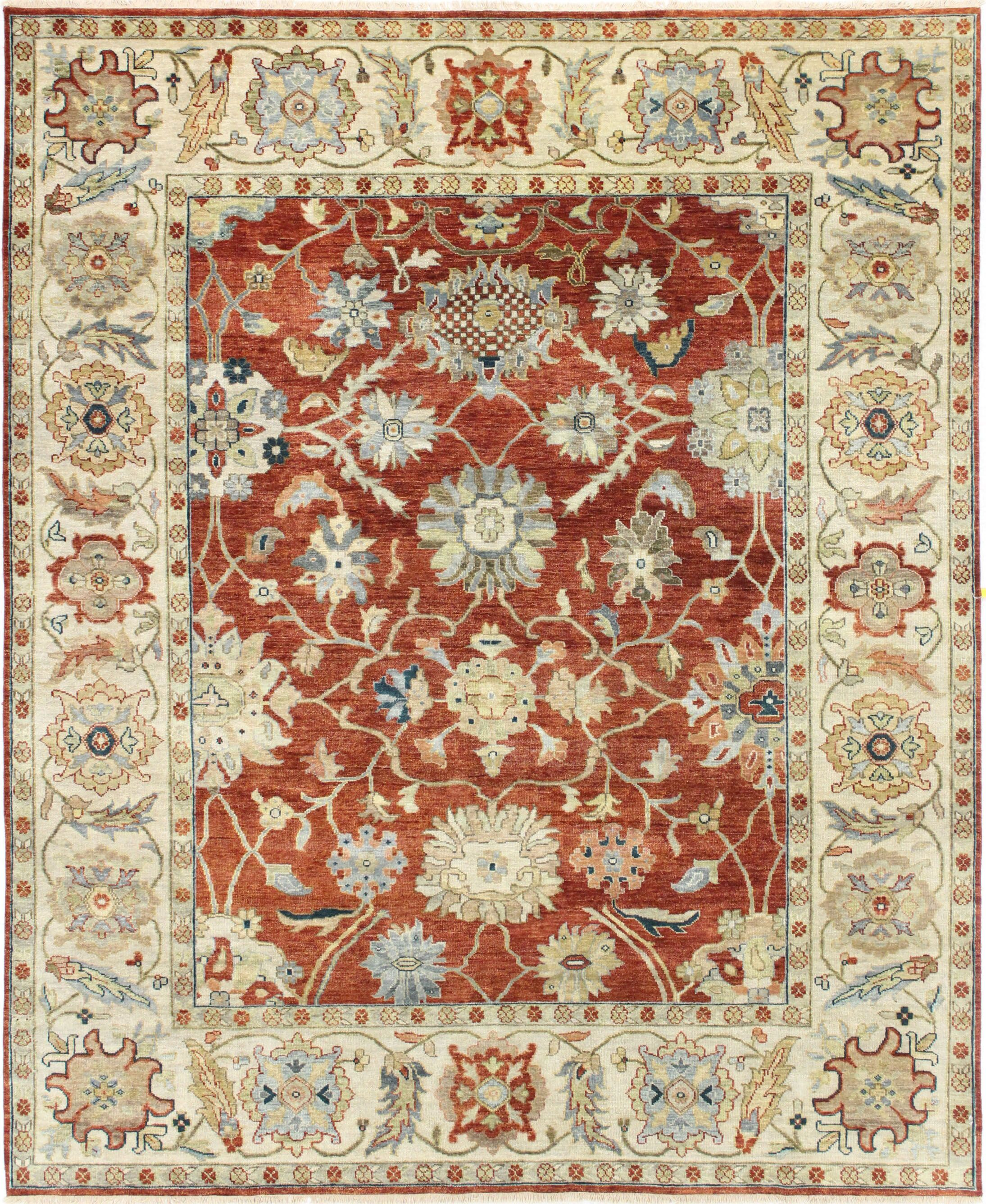 One-of-a-Kind Brogdon Genuine Oriental Hand-Knotted Wool Red/Beige Area Rug