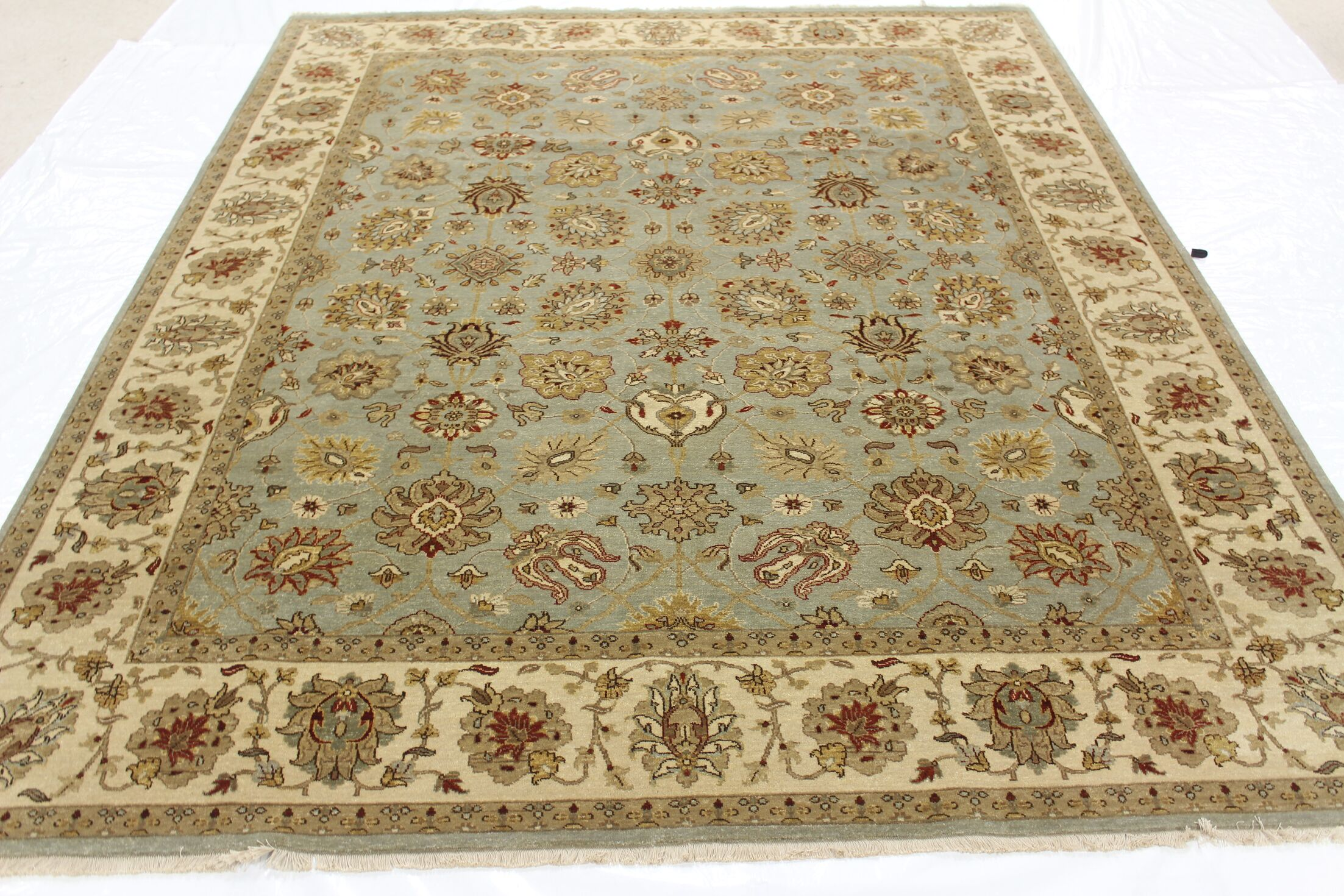 One-of-a-Kind Brokaw Genuine Oriental Hand-Knotted Wool Beige/Blue Area Rug