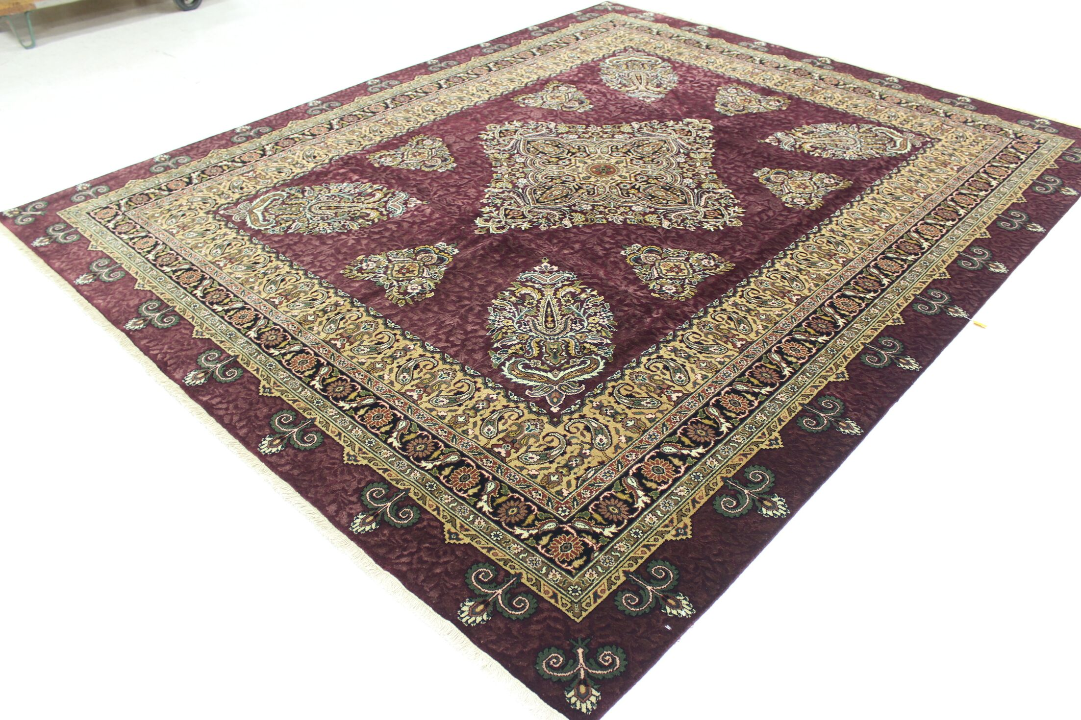 One-of-a-Kind Bronk Genuine Oriental Hand-Knotted Wool Burgundy/Beige Area Rug
