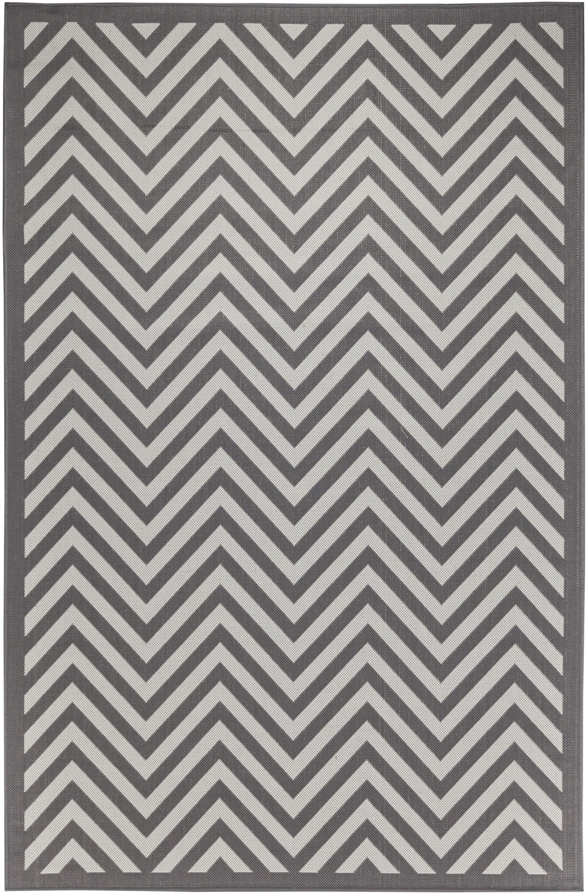 Trip Chevron Light Gray/Anthracite Indoor/Outdoor Area Rug Rug Size: Rectangle 8' x 10'