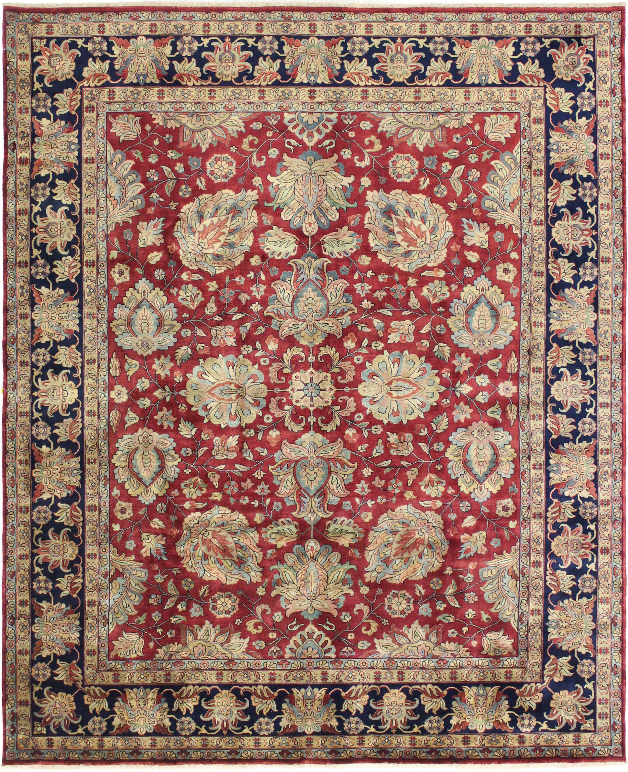One-of-a-Kind Brogan Genuine Oriental Hand-Knotted Wool Red/Blue Area Rug