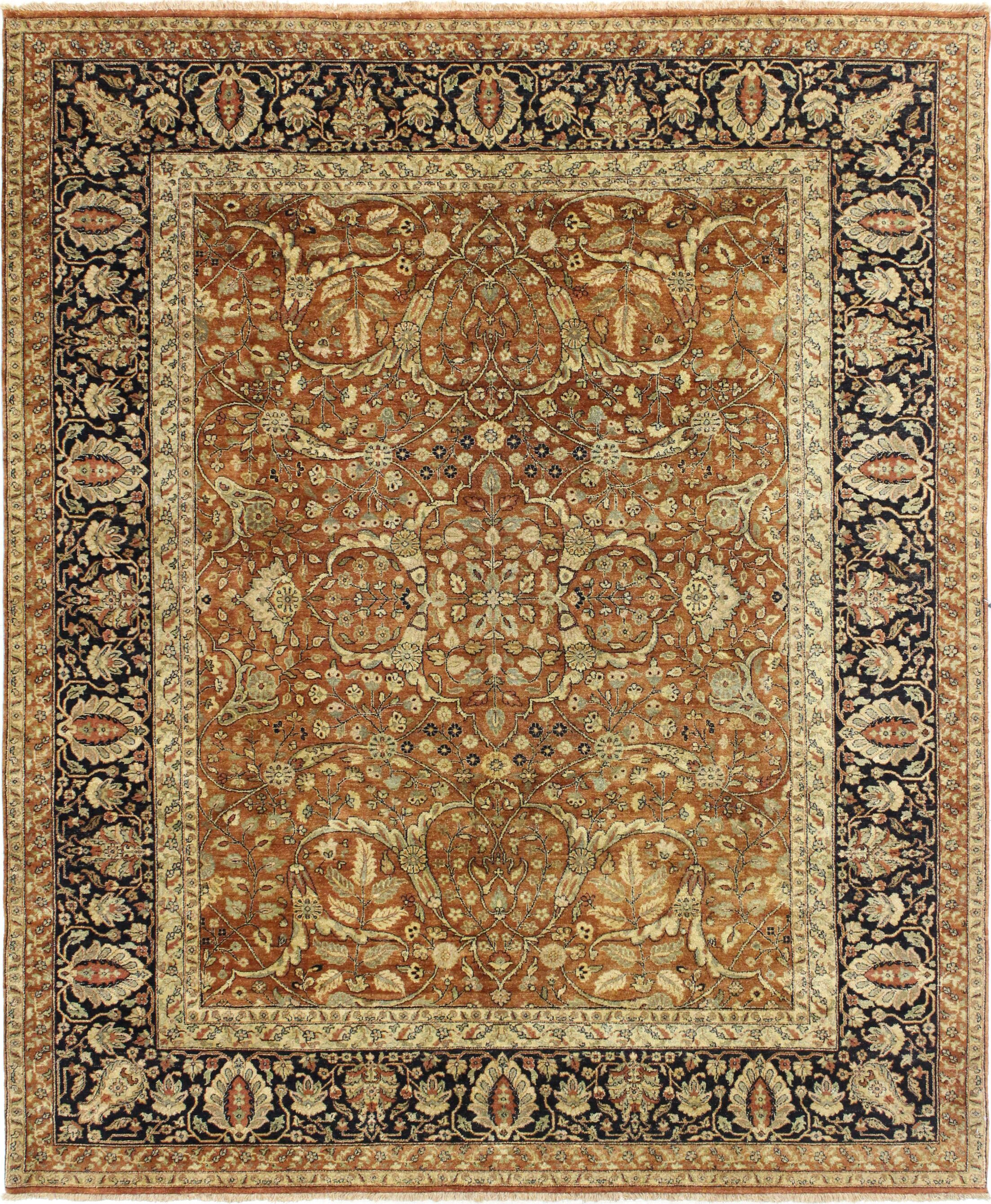 One-of-a-Kind Bronk Genuine Oriental Hand-Knotted Wool Brown/Blue Area Rug