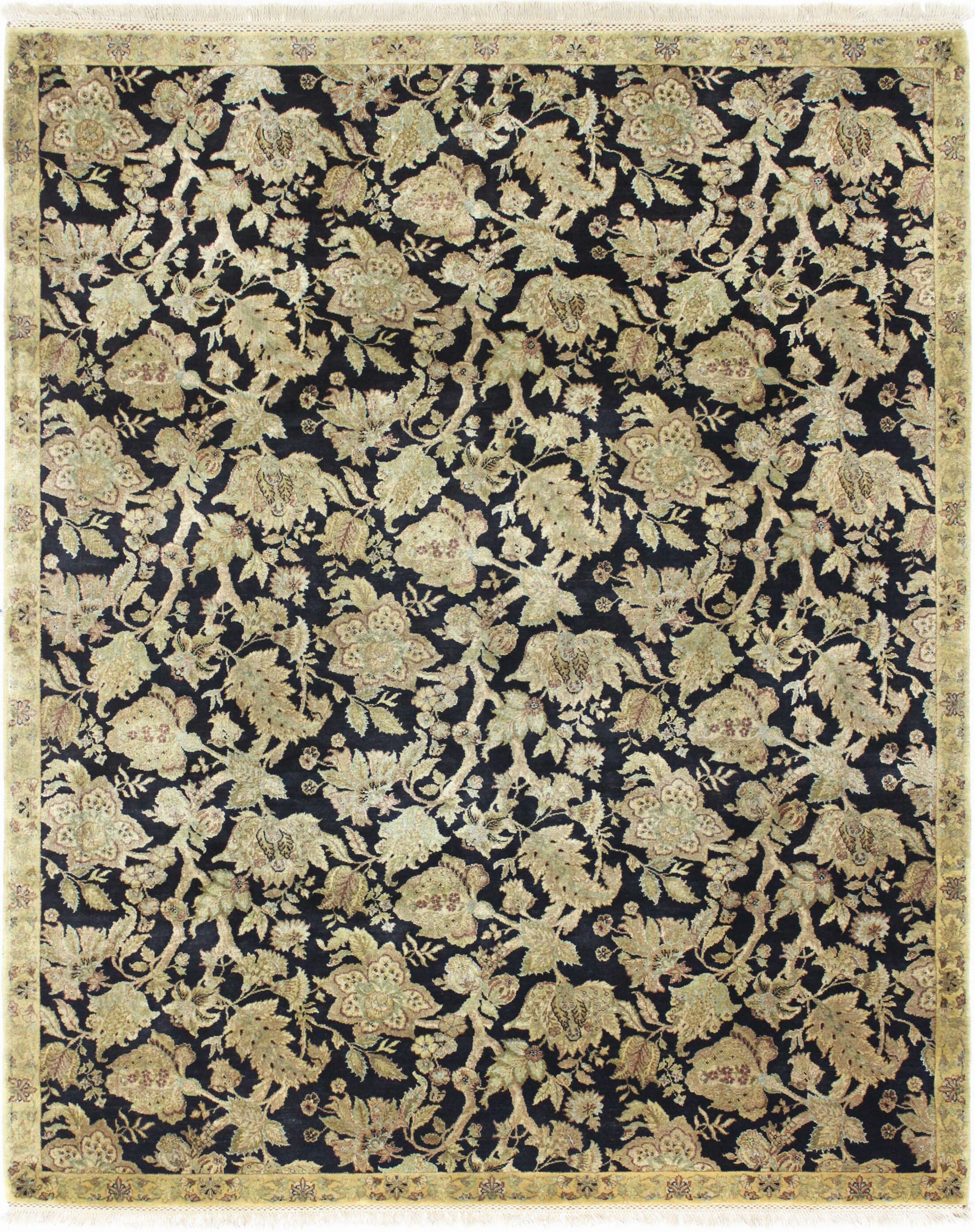 One-of-a-Kind Brogan Jaipur Genuine Oriental Hand-Knotted Wool Black/Beige Area Rug