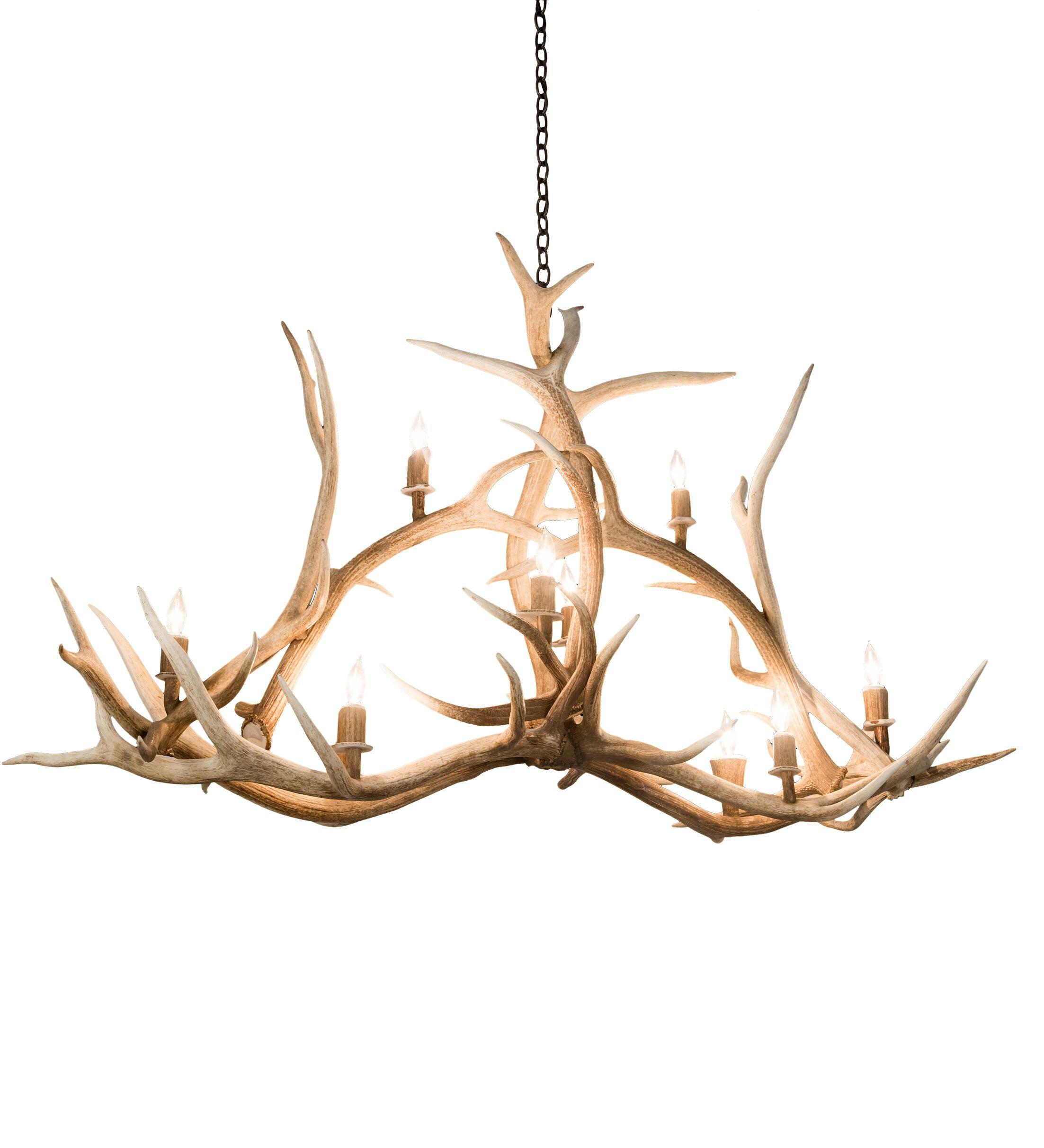 Scruggs Elk Oblong 10-Light Novelty Chandelier
