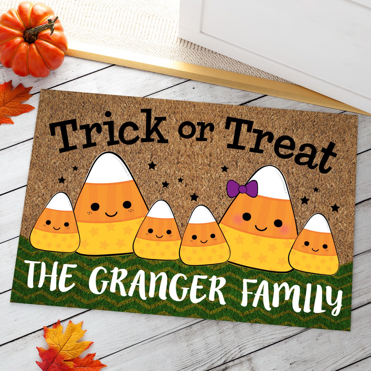 Ahner Candy Corn Family Personalized Doormat