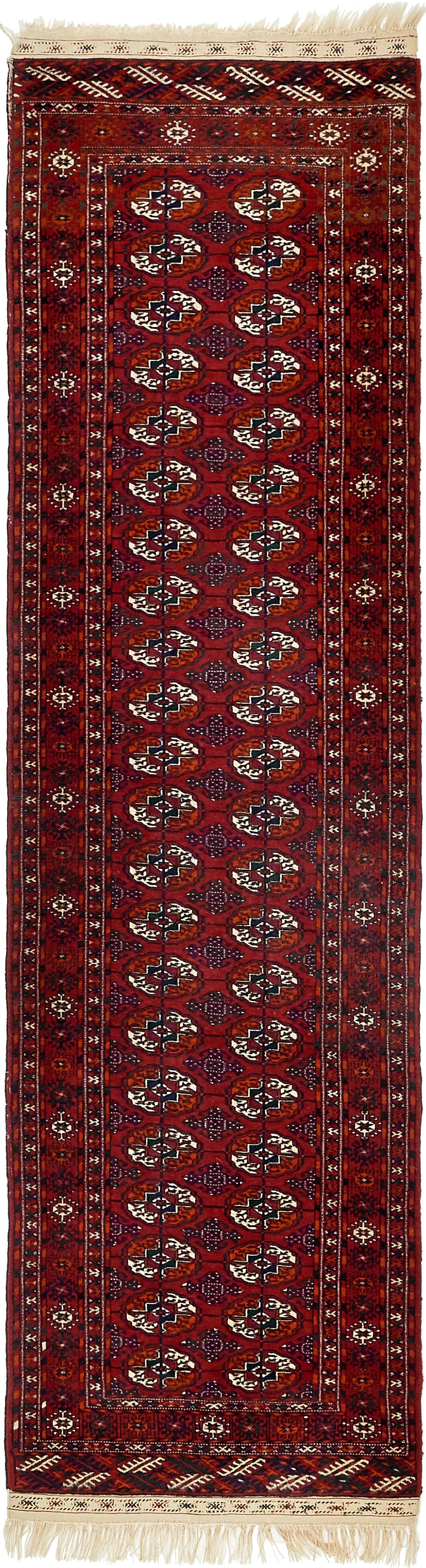 One-of-a-Kind Bunceton Runner Hand-Knotted Wool Red/Black Area Rug