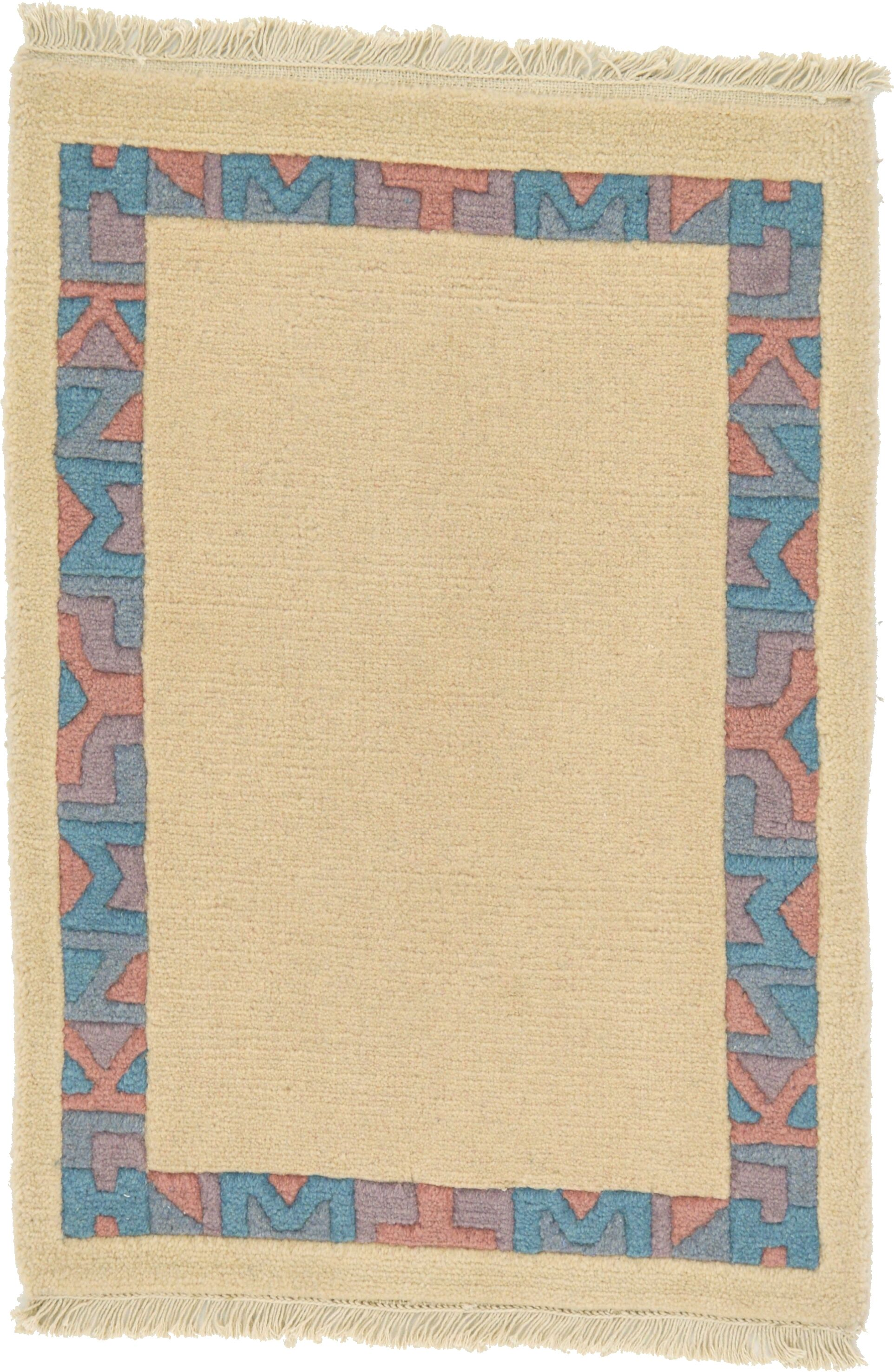 One-of-a-Kind Dorcaster Hand-Knotted 2' x 3' Wool Light Beige/Blue Area Rug