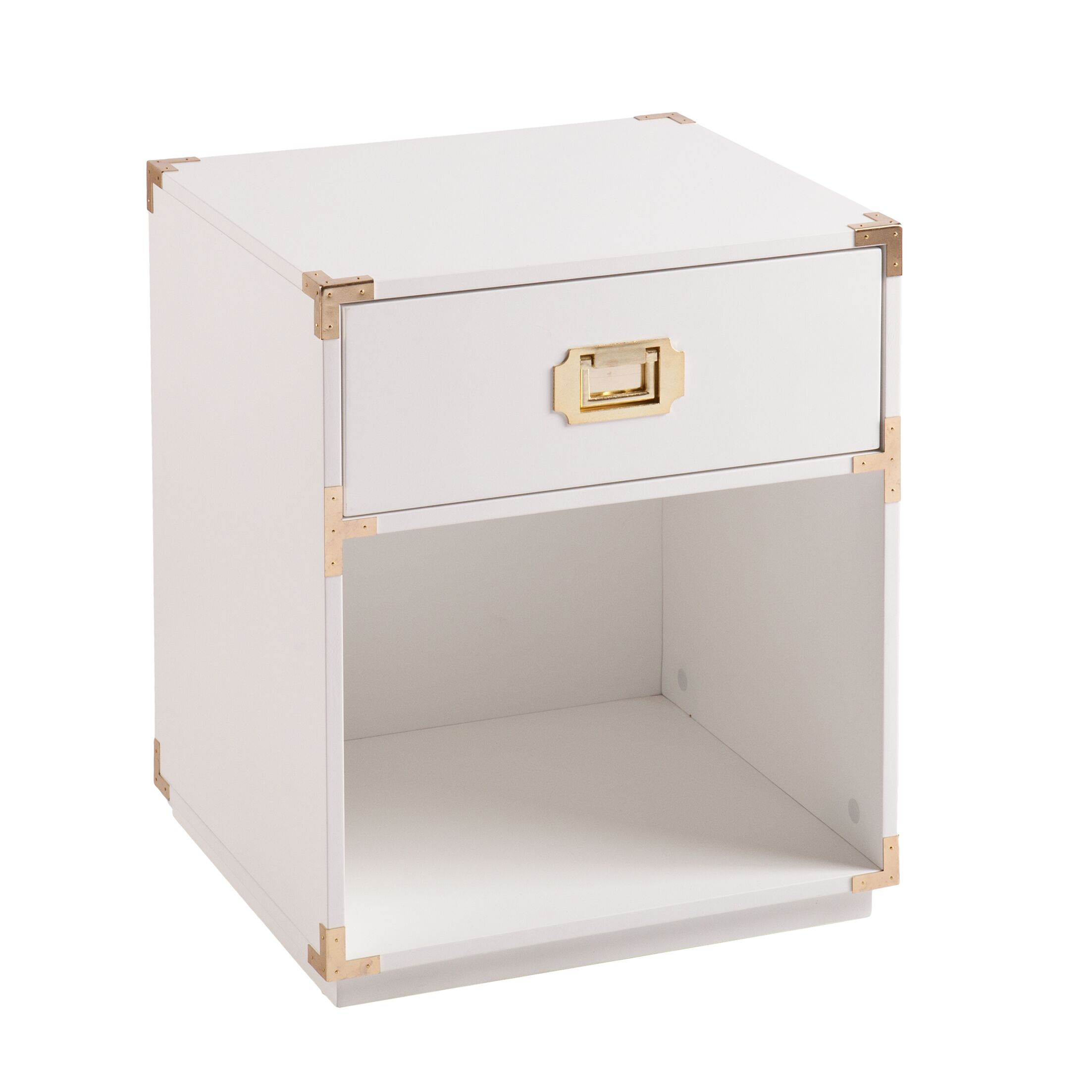 Hana End Table with Storage Color: White