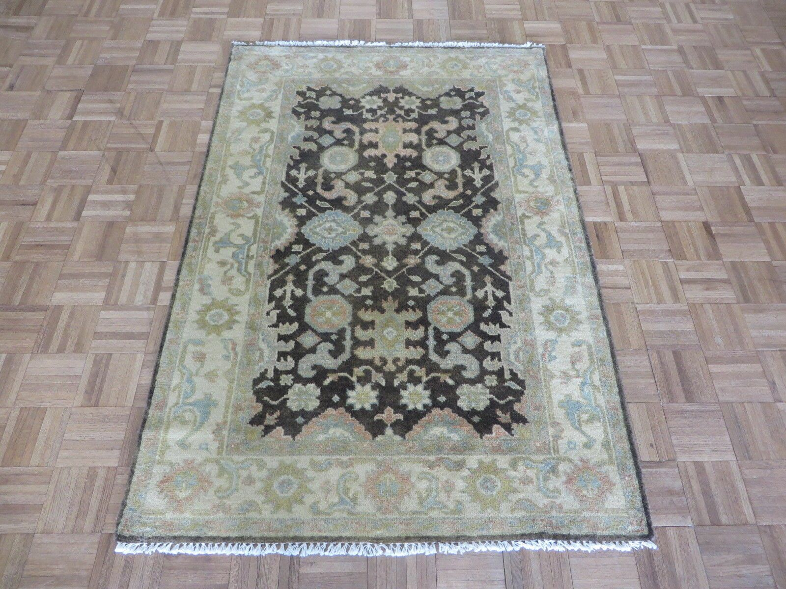 One-of-a-Kind Bearer Ushak Hand-Knotted Wool Brown Area Rug