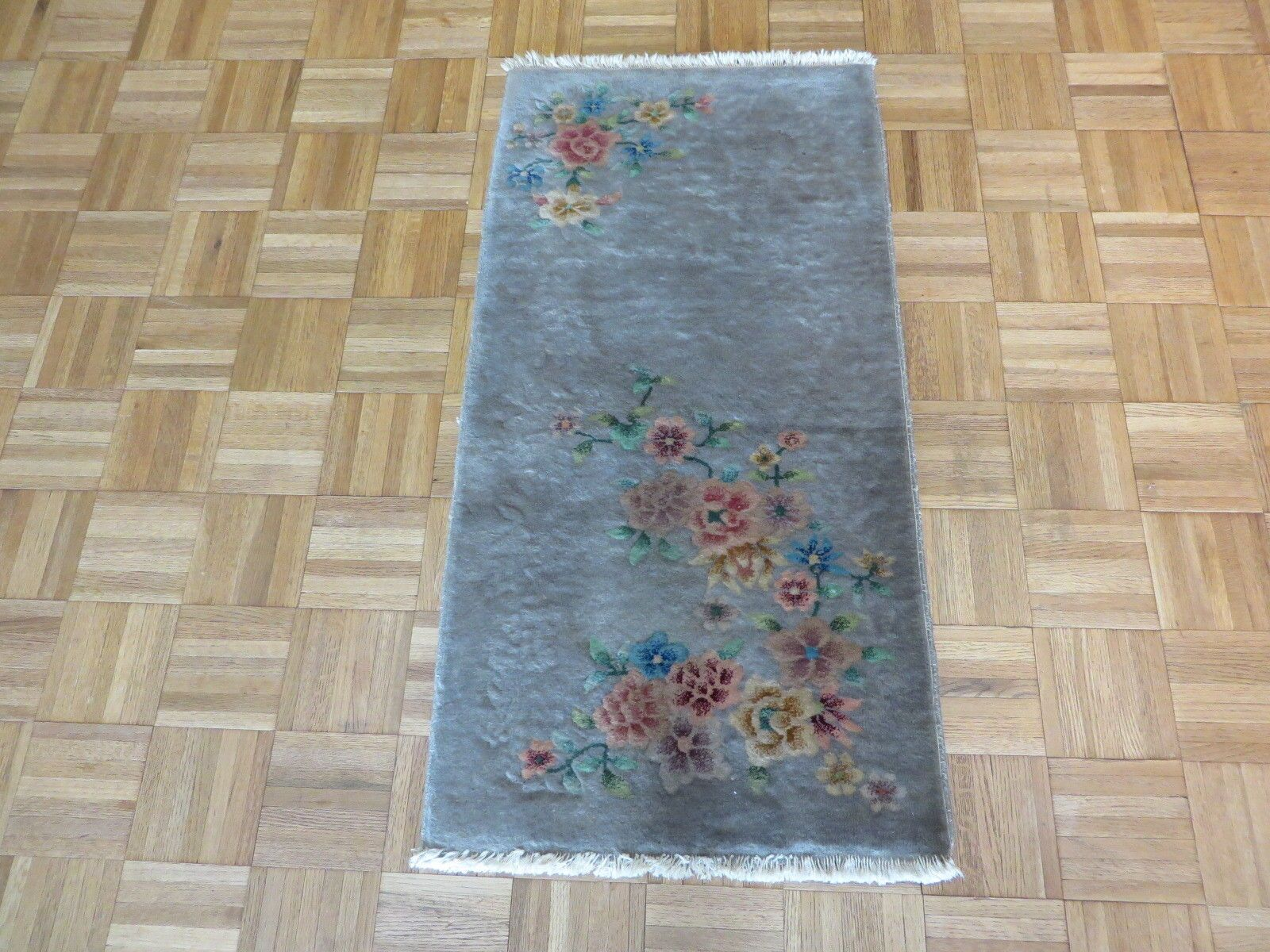 One-of-a-Kind Brionna Semi Antique Art Deco Chinese Hand-Knotted Wool Gray Area Rug