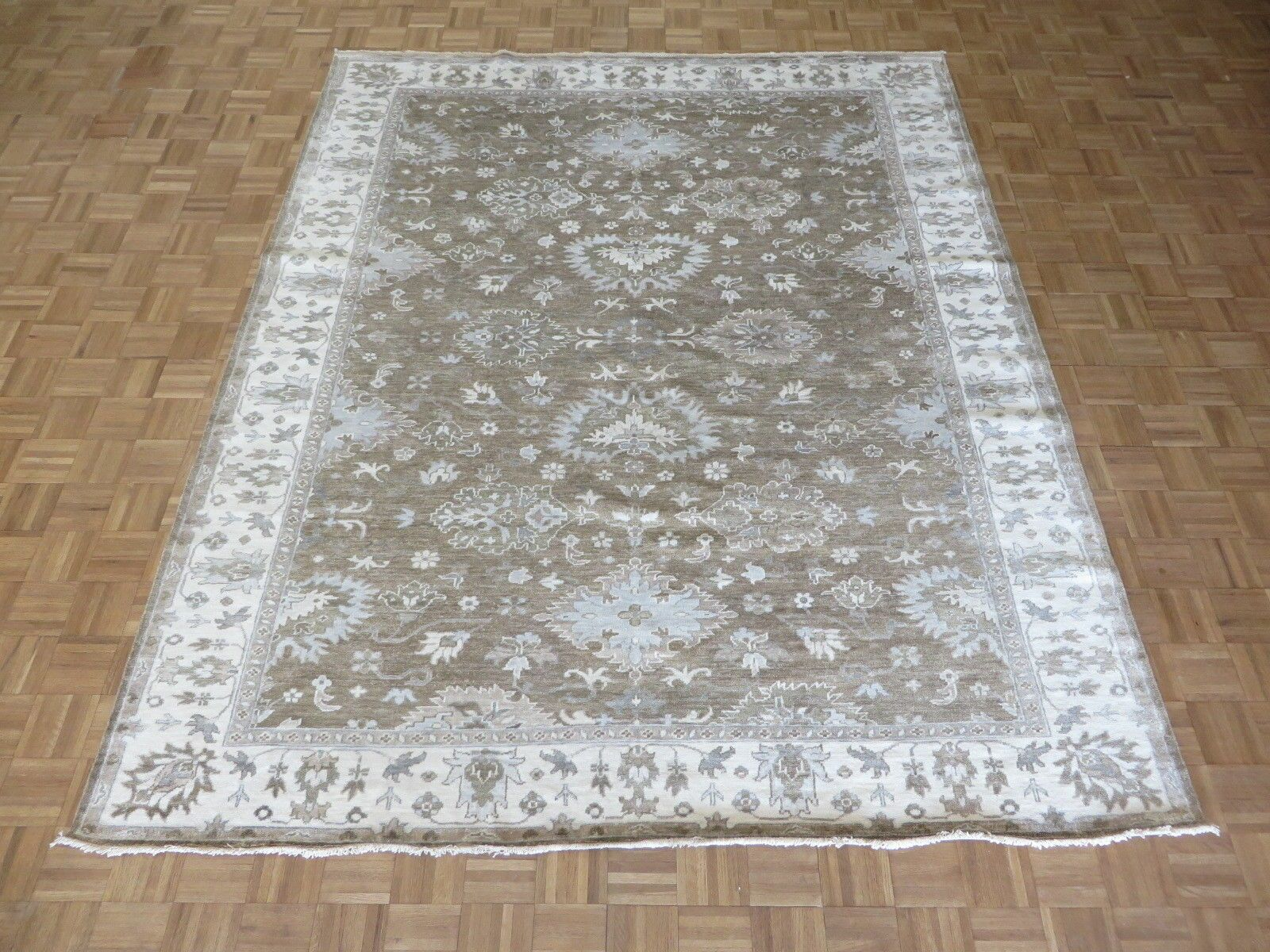 One-of-a-Kind Broadhurst Oushak Hand-Knotted Silk Brown Area Rug