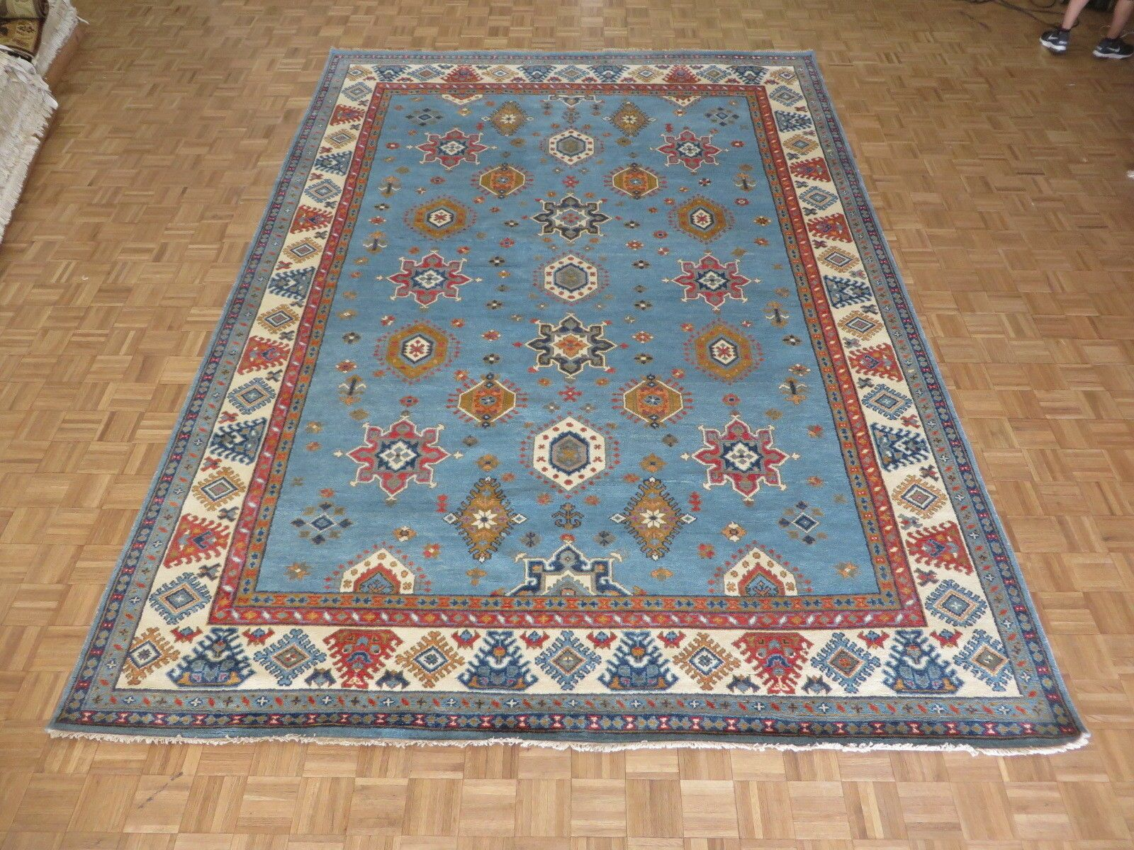 One-of-a-Kind Brisson Geometric Hand-Knotted Wool Sky Blue Area Rug