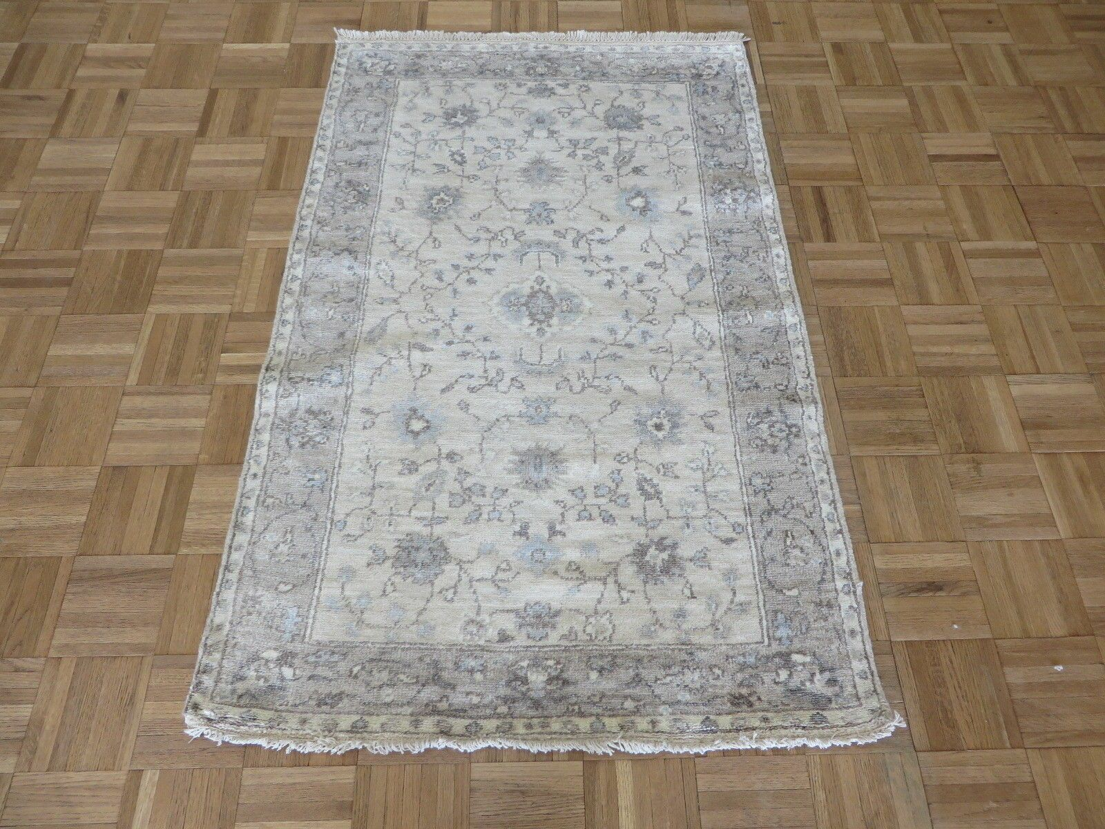 One-of-a-Kind Broadhurst Oushak Hand-Knotted Silk Ivory/Gray Area Rug