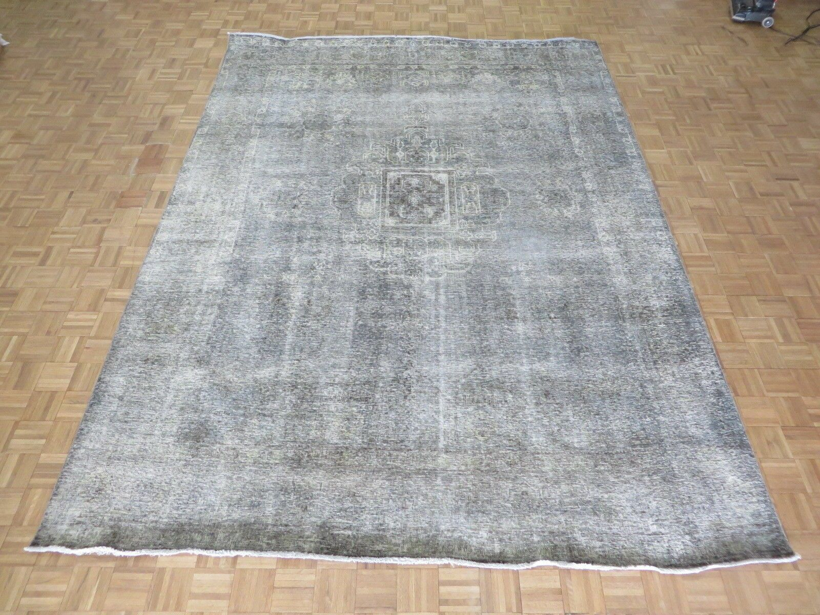 One-of-a-Kind Britni Overdyed Persian Tabriz Hand-Knotted Wool Gray Area Rug