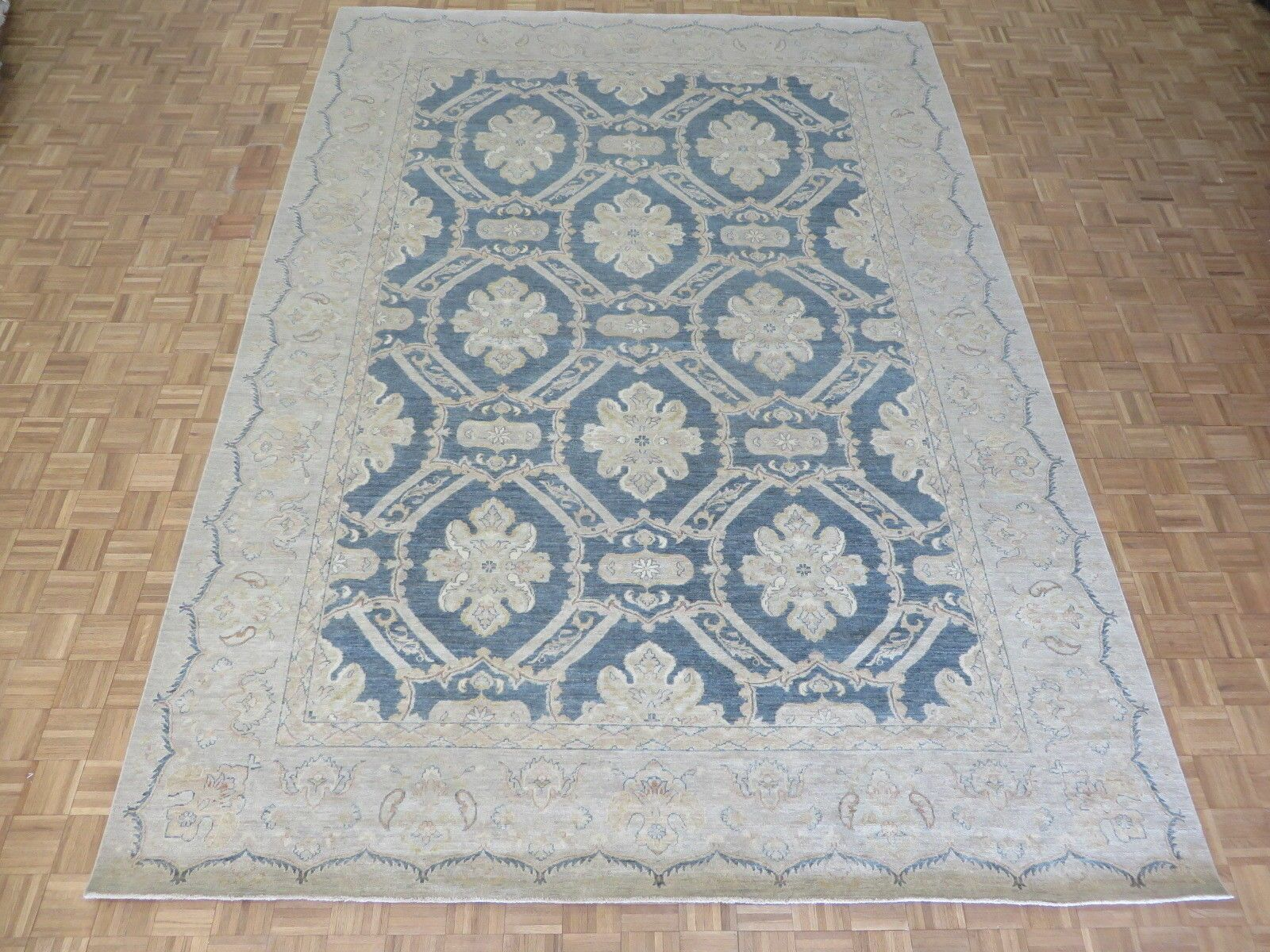 One-of-a-Kind Beaumont Oushak Hand-Knotted Wool Denim Blue Area Rug
