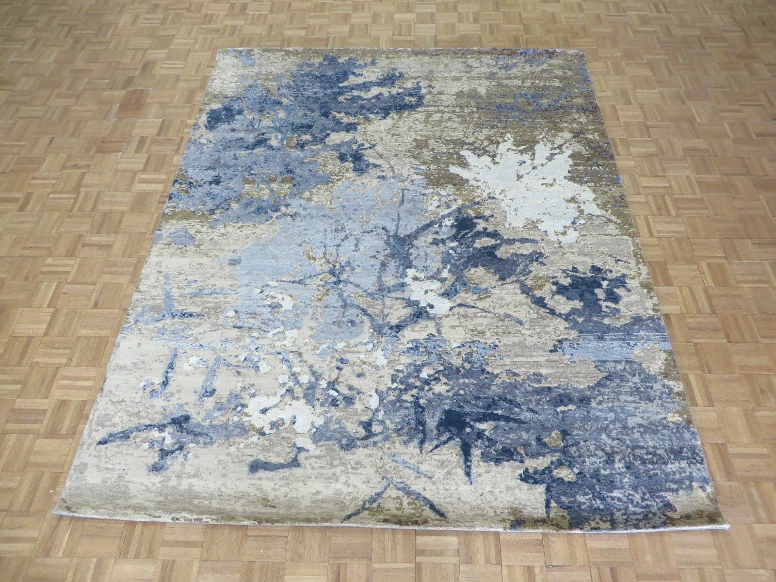One-of-a-Kind Brode Hand-Knotted Wool/Silk Blue/Brown Area Rug