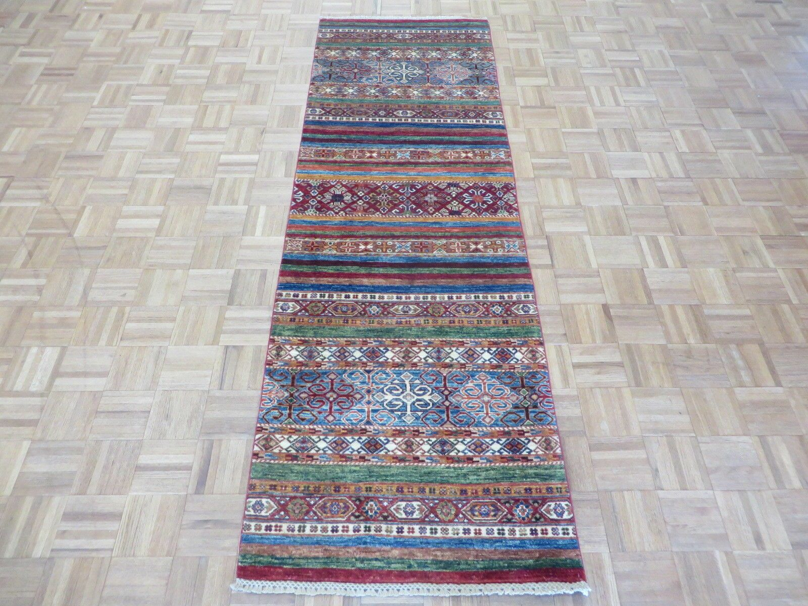 One-of-a-Kind Broad Super Kazak Khorjin Hand-Knotted Wool Red/Blue Area Rug