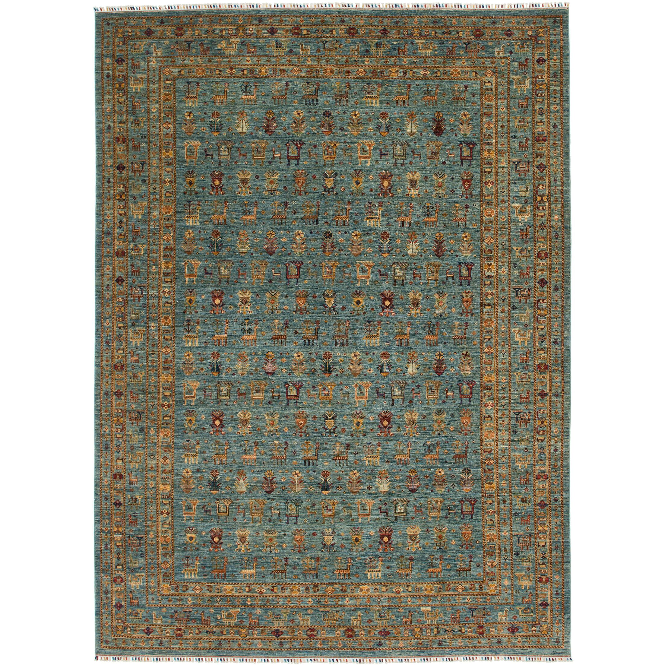 One-of-a-Kind Denver Hand-Knotted Wool Blue/Brown Area Rug